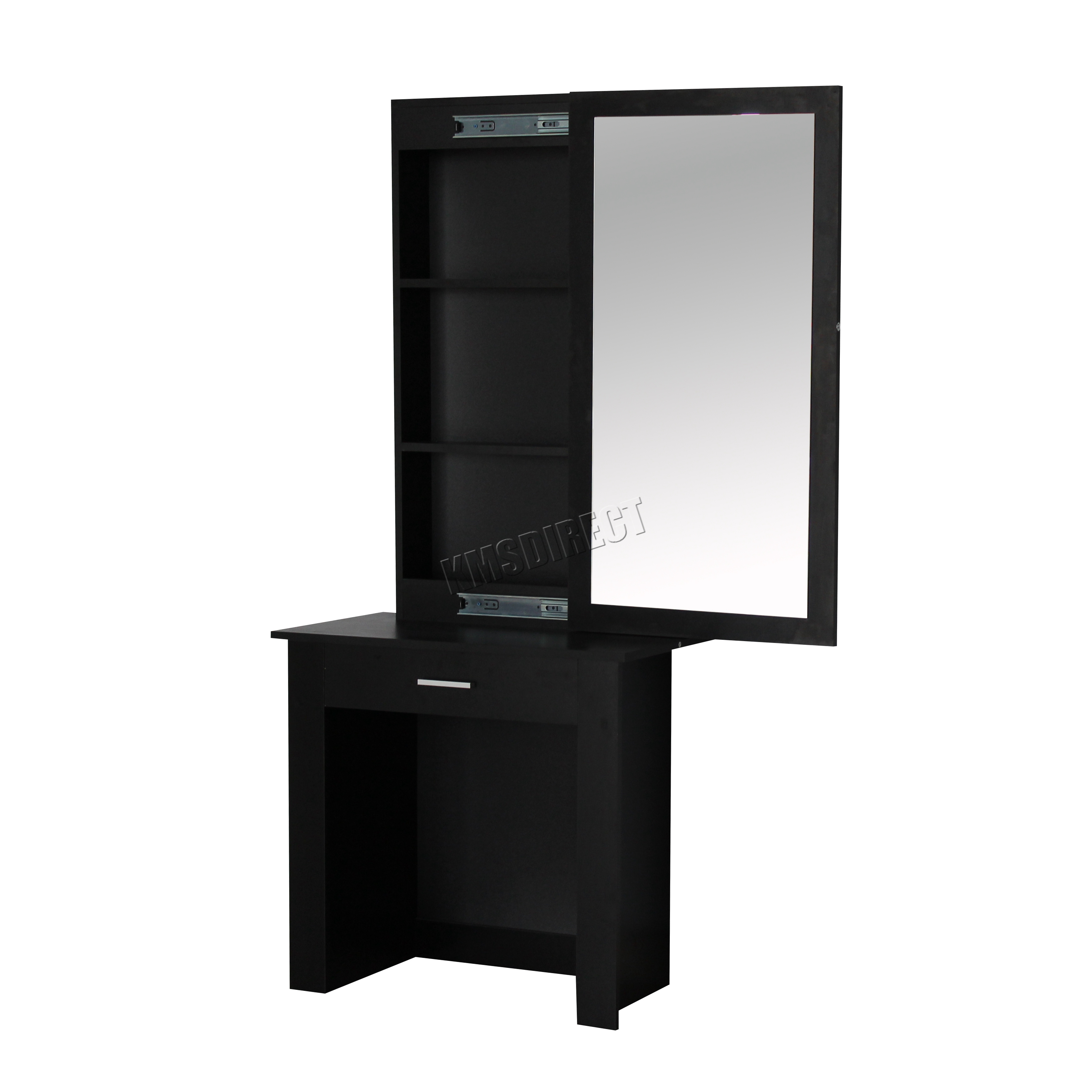 Sentinel FoxHunter Wooden Makeup Jewelry Dressing Table With Sliding Mirror  DT04 Black. FoxHunter Wooden Makeup Jewelry Dressing Table With Sliding Mirror