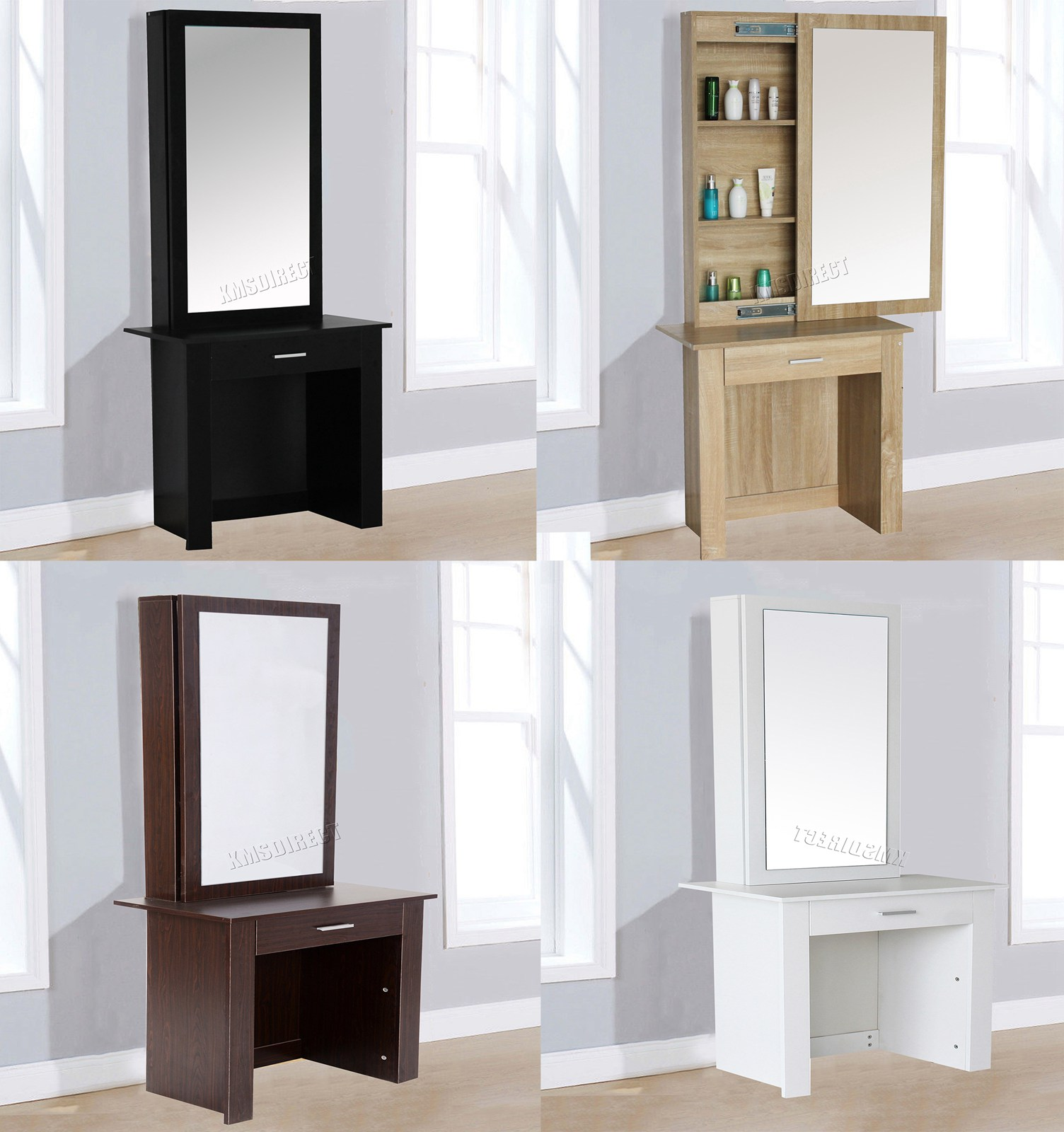 Sentinel Westwood Dressing Table Modern Wooden Makeup With Sliding Mirror Dt04