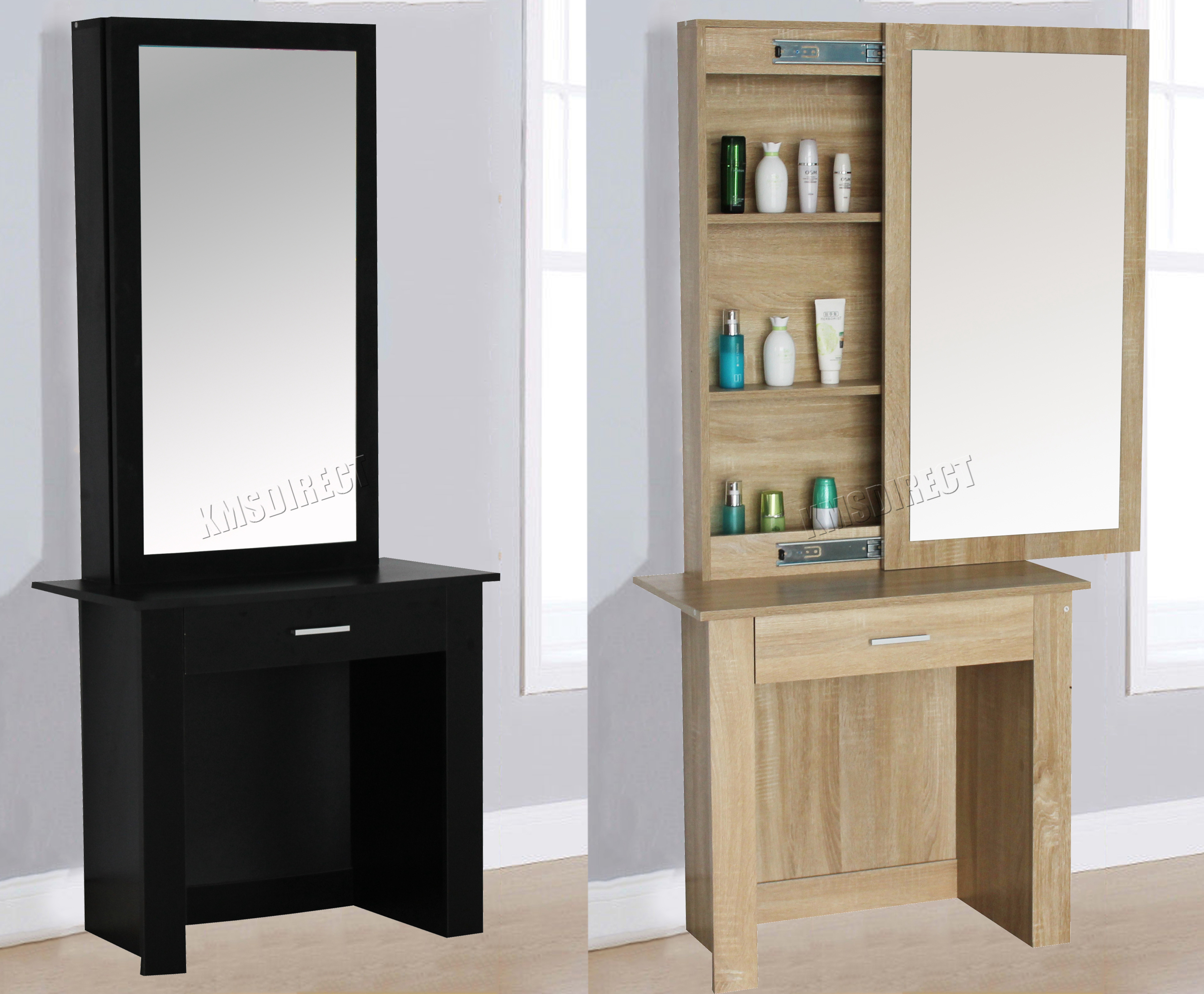 FoxHunter Wooden Makeup Jewelry Dressing Table With Sliding Mirror