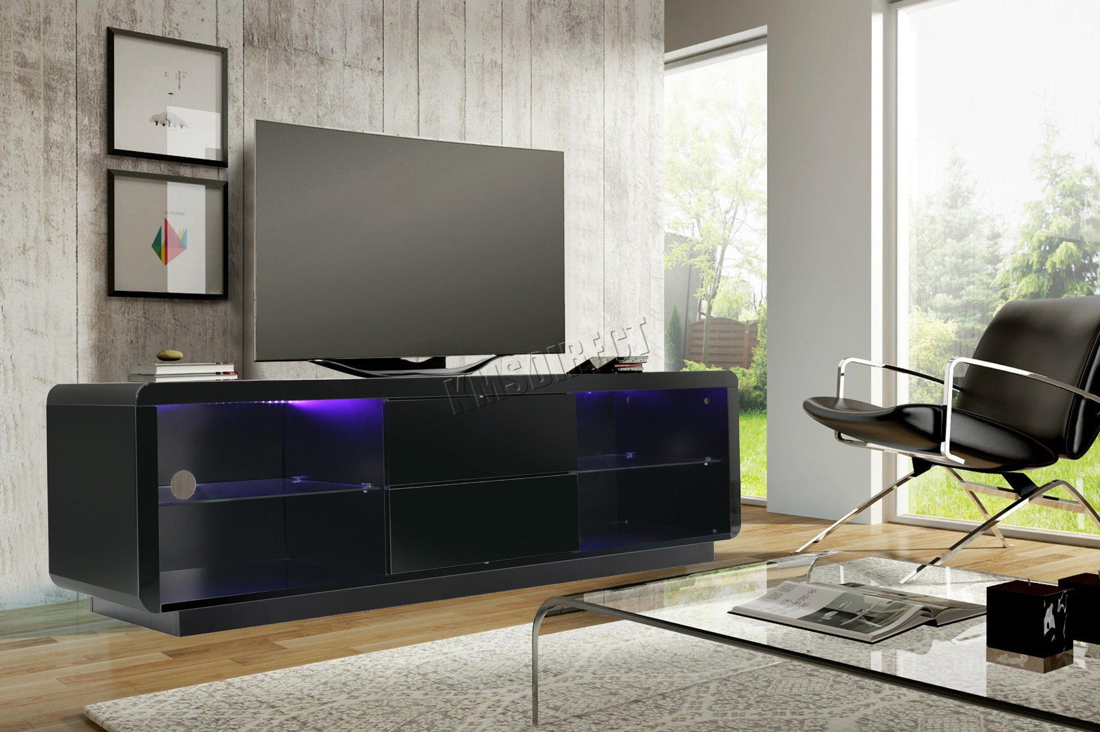 FoxHunter Modern High Gloss Matt TV Cabinet Unit Stand Home RGB ...
