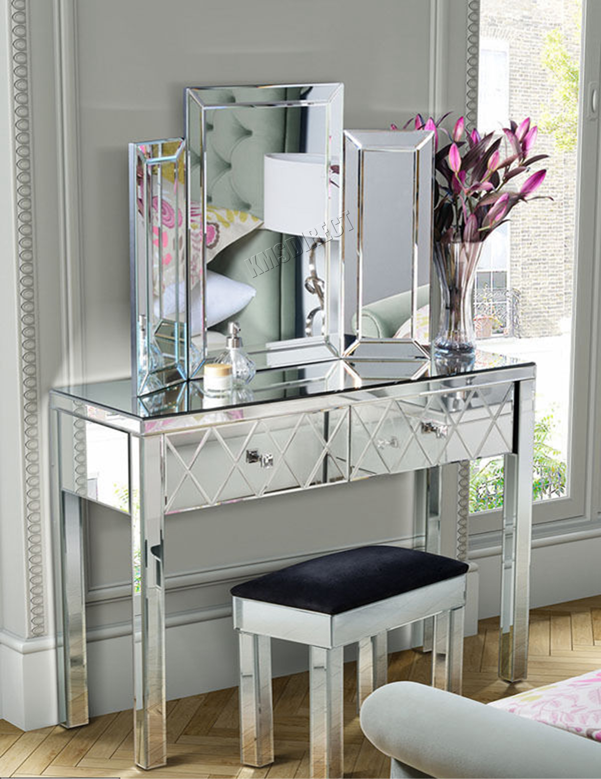 Mirrored Vanity Table And Stool: WestWood Mirrored Furniture Glass Dressing Table With