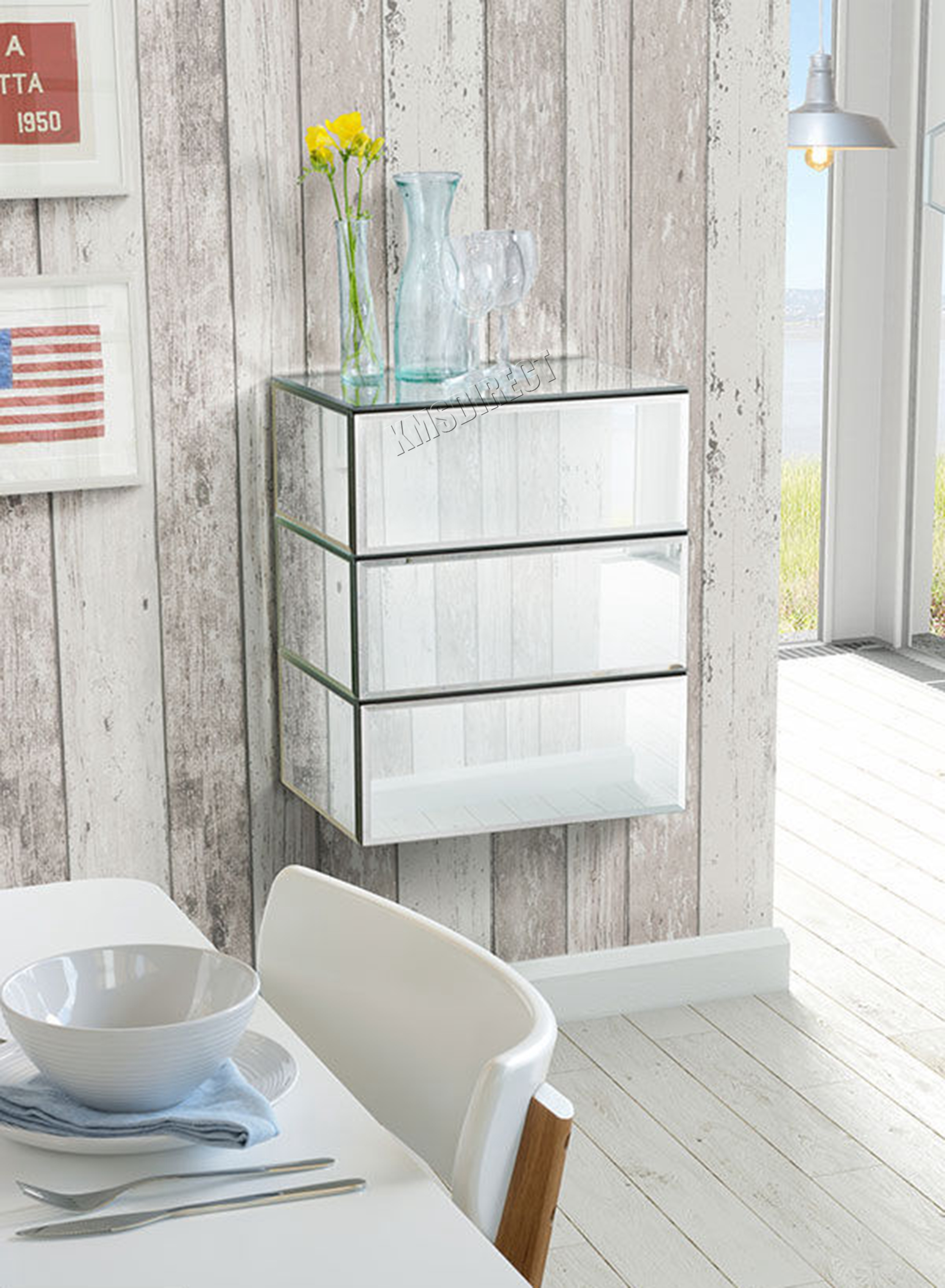 WestWood Mirrored Furniture Glass Floating Bedside Cabinet Table