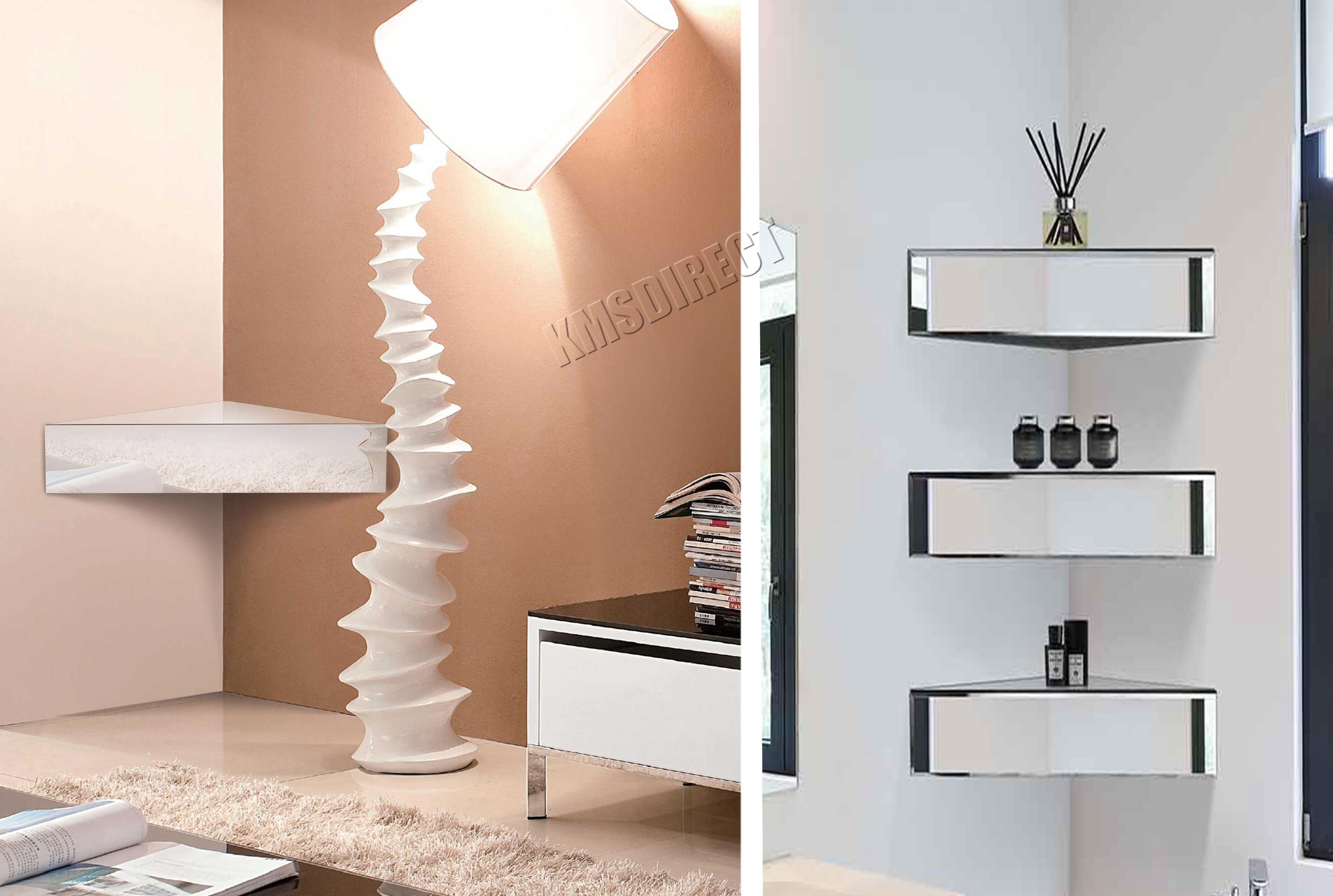 Sentinel Westwood Mirrored Furniture Gl Floating Bedside Cabinet Table Shelf Mbt02