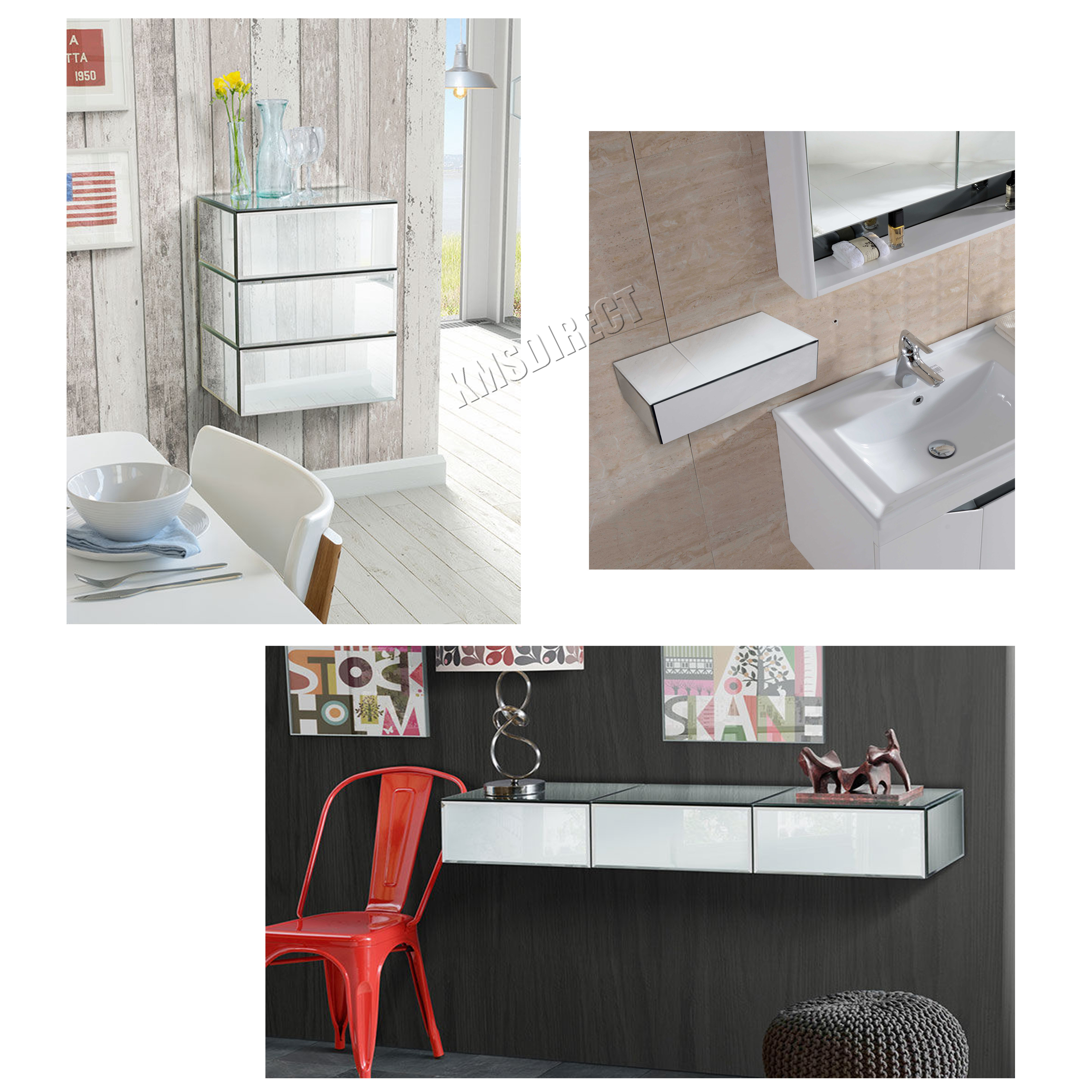 Sentinel Westwood Mirrored Furniture Gl Floating Bedside Cabinet Table Console Shelf