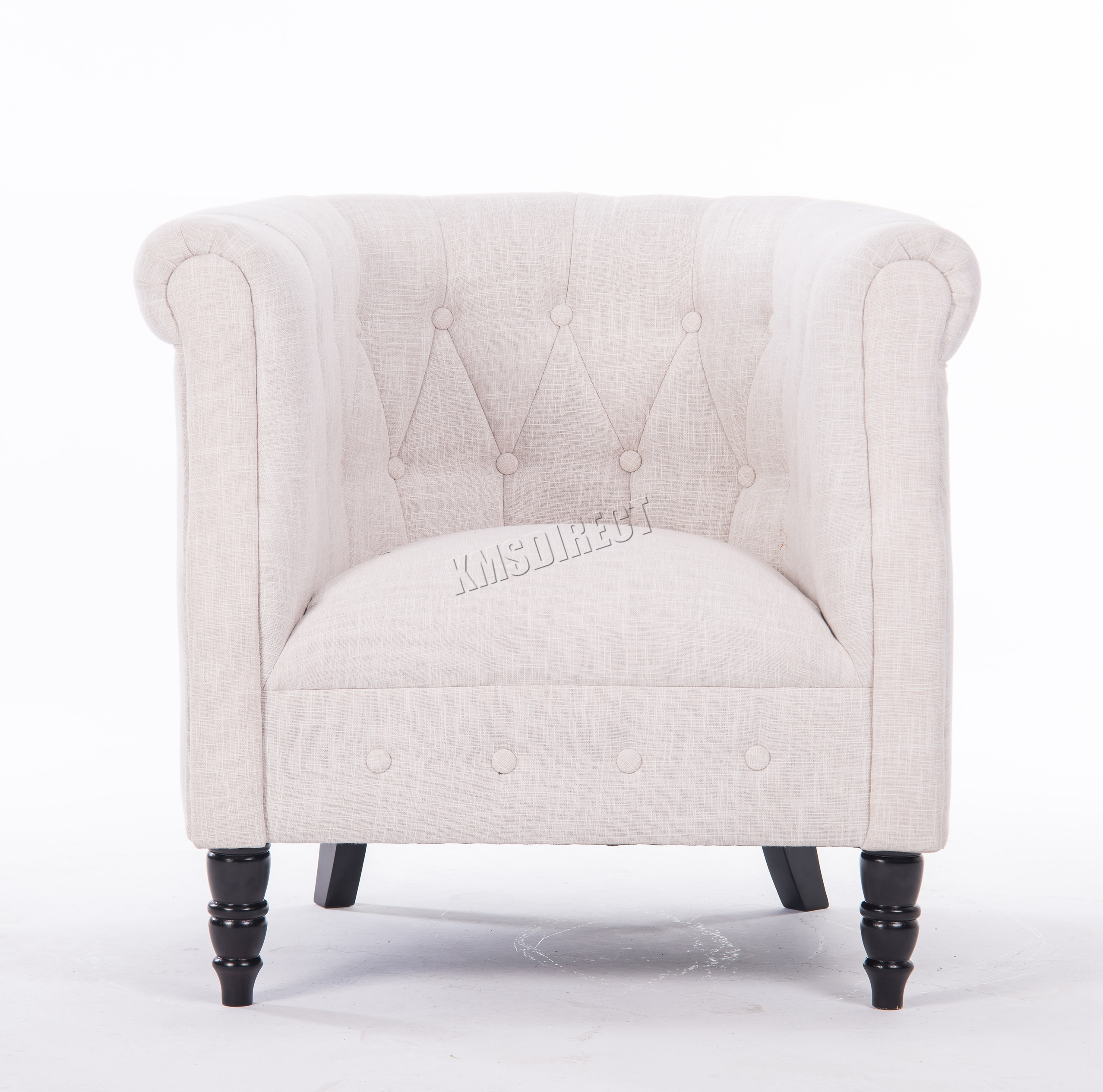 WestWood Vintage Linen Fabric Tub Chair Armchair Dining Living Room ...