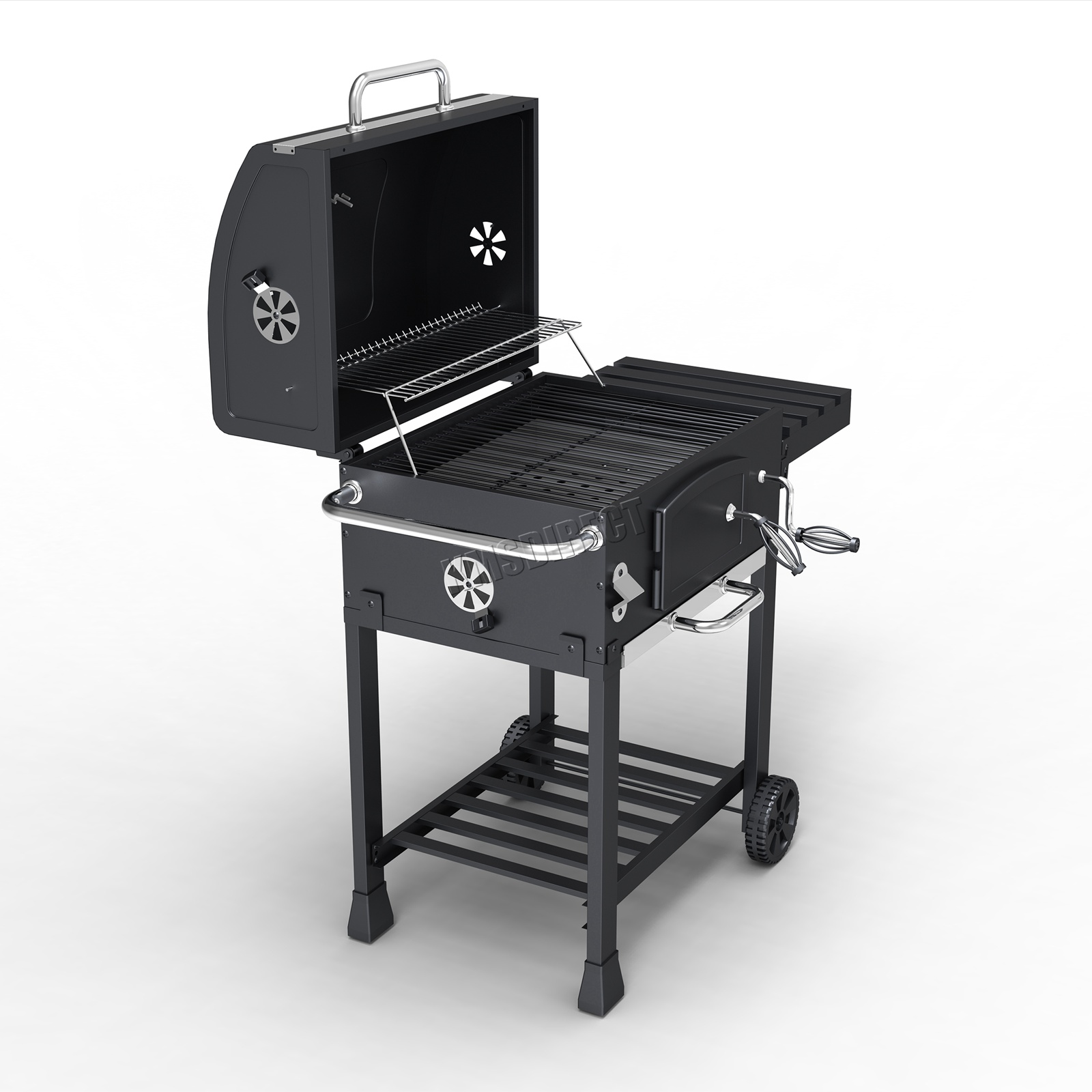 Foxhunter antracite grigliata grill barbecue affumicatore for Affumicatore portatile