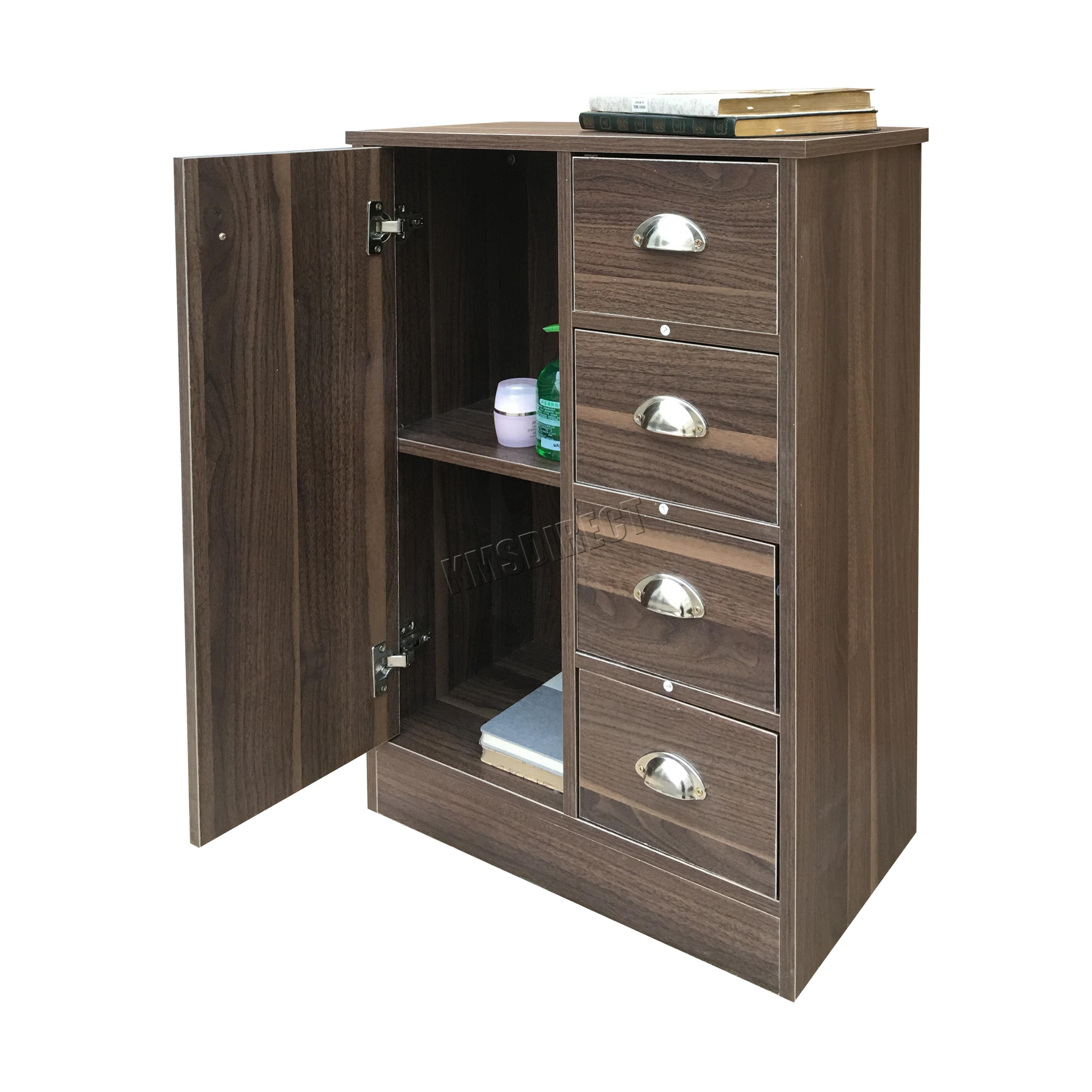 Foxhunter 4 Drawer 2 Shelves Bathroom Storage Cupboard Cabinet Unit Bs03 Walnut Ebay