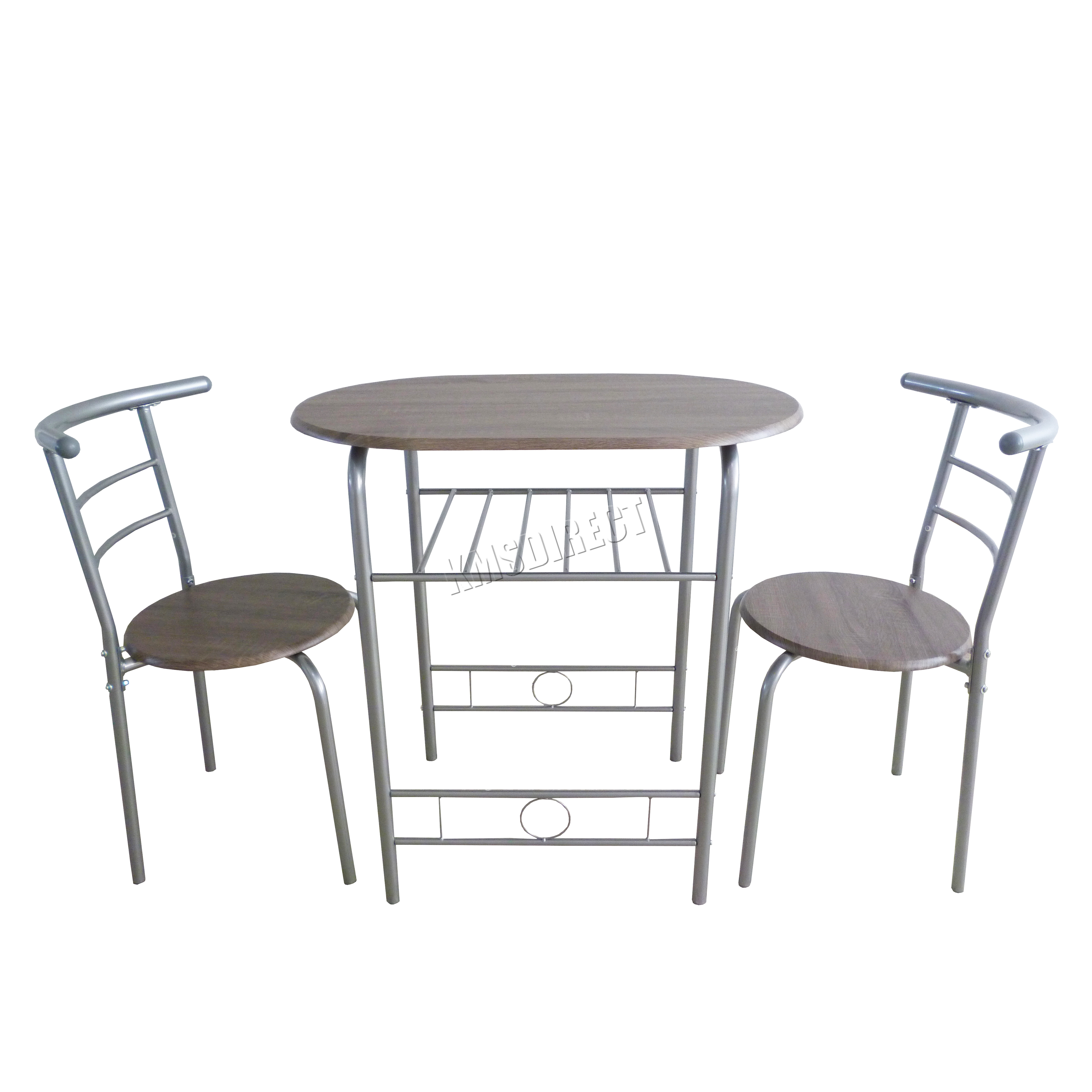 Sentinel Foxhunter Dining Table Breakfast Bar 2 Chair Set Metal Mdf Kitchen Ds06 Silver