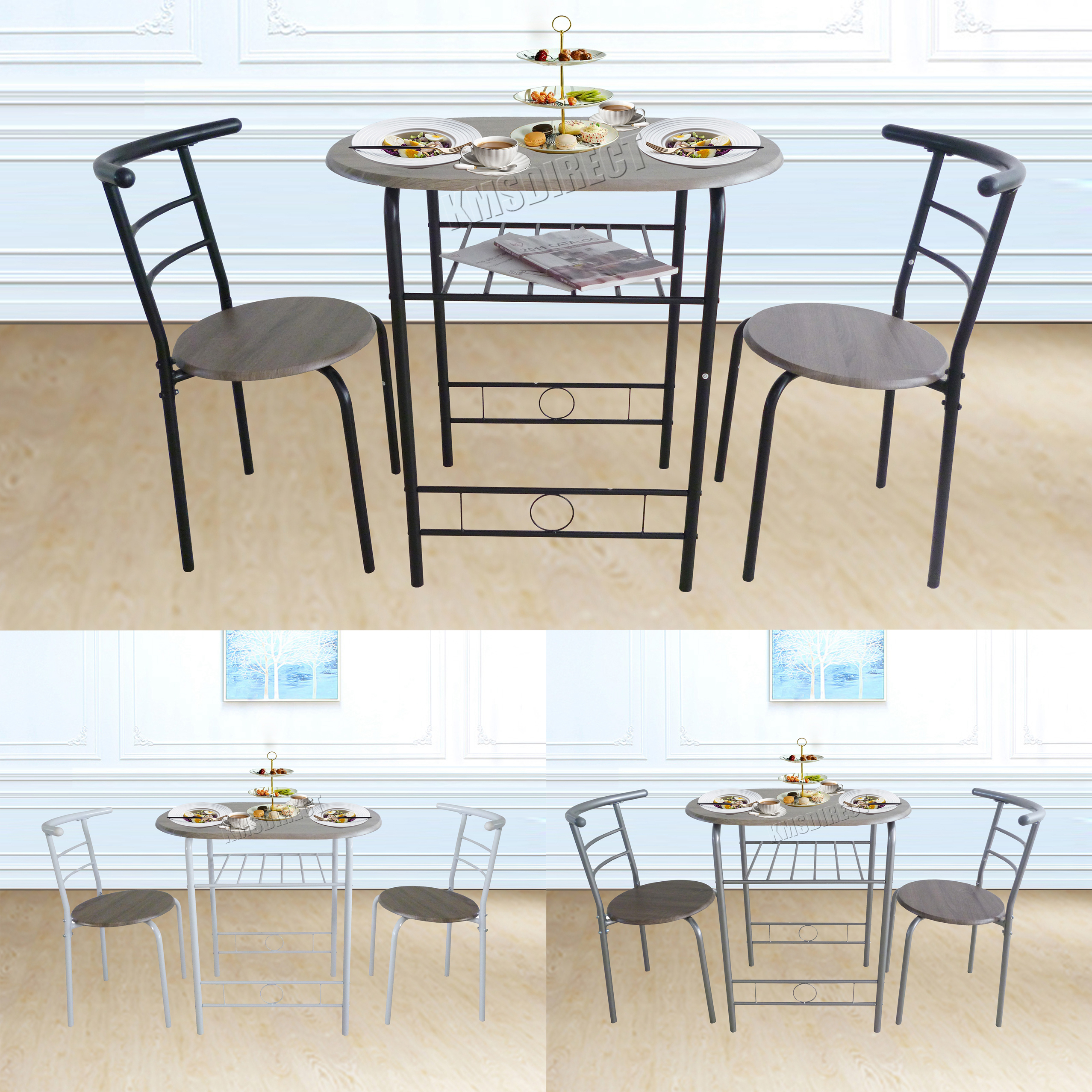 foxhunter compact dining table breakfast bar 2 chair set metal mdf kitchen ds06. Black Bedroom Furniture Sets. Home Design Ideas