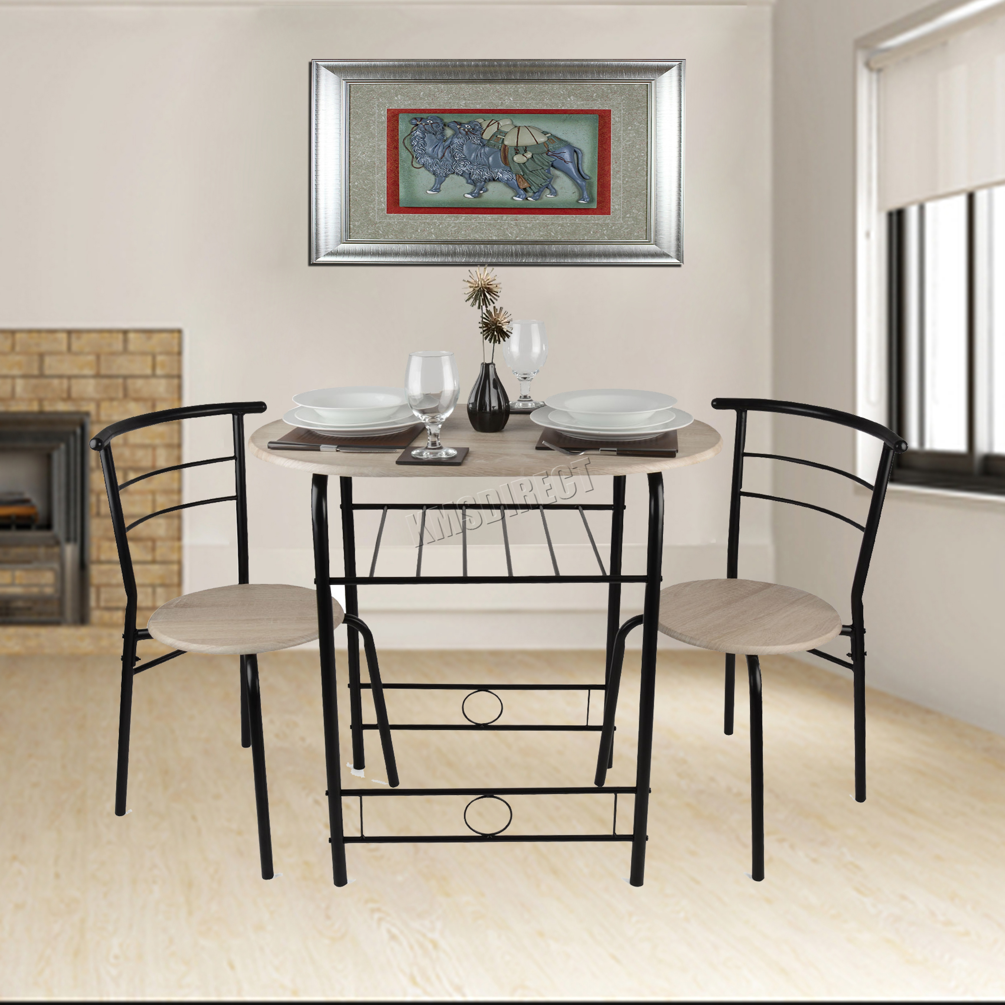 FoxHunter Compact Dining Table Breakfast Bar 2 Chair