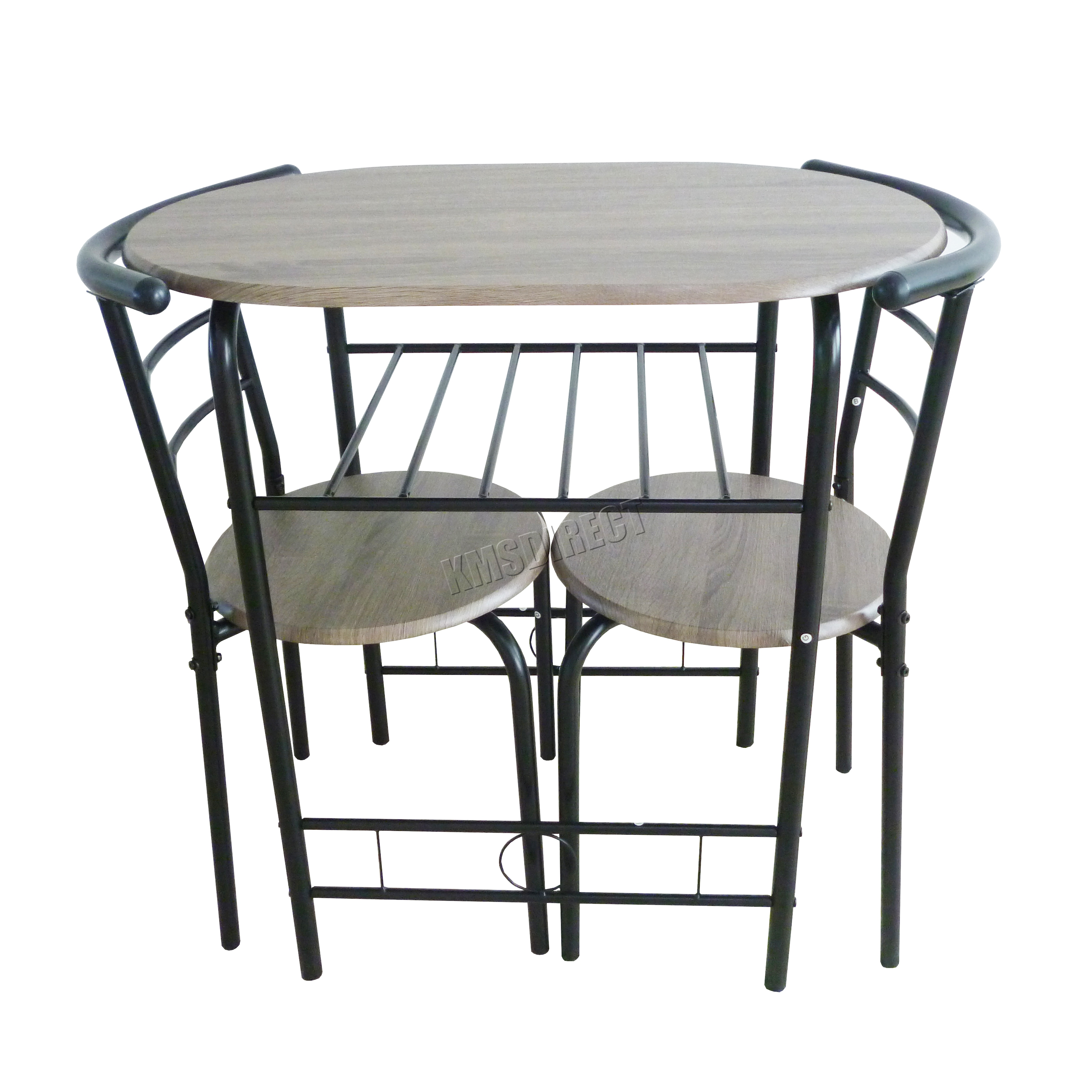 FoxHunter pact Dining Table Breakfast Bar 2 Chair Set Metal MDF