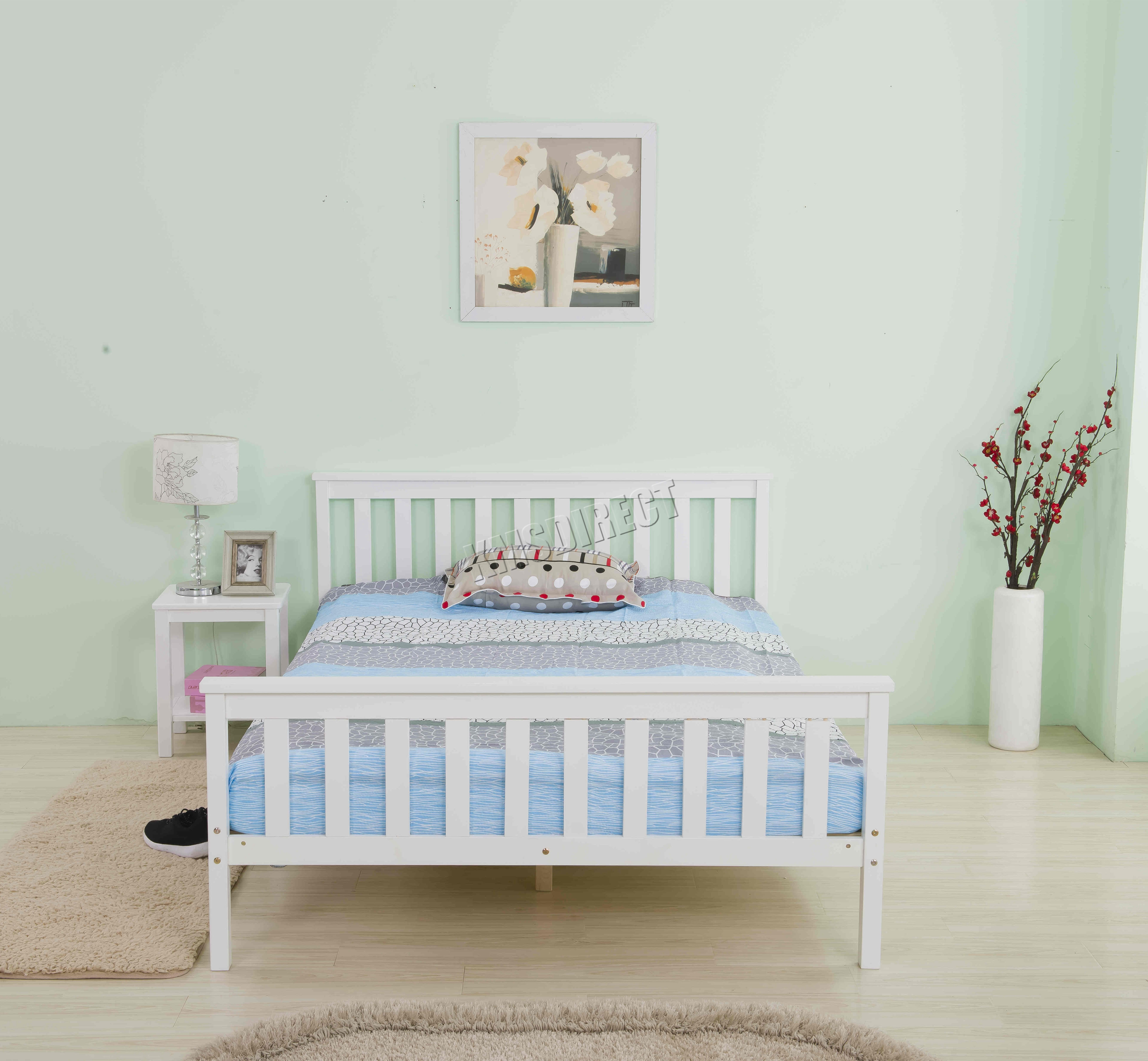 Foxhunter Wooden Bed Frame Solid Pine Bedroom Furniture Home Single Double White Ebay