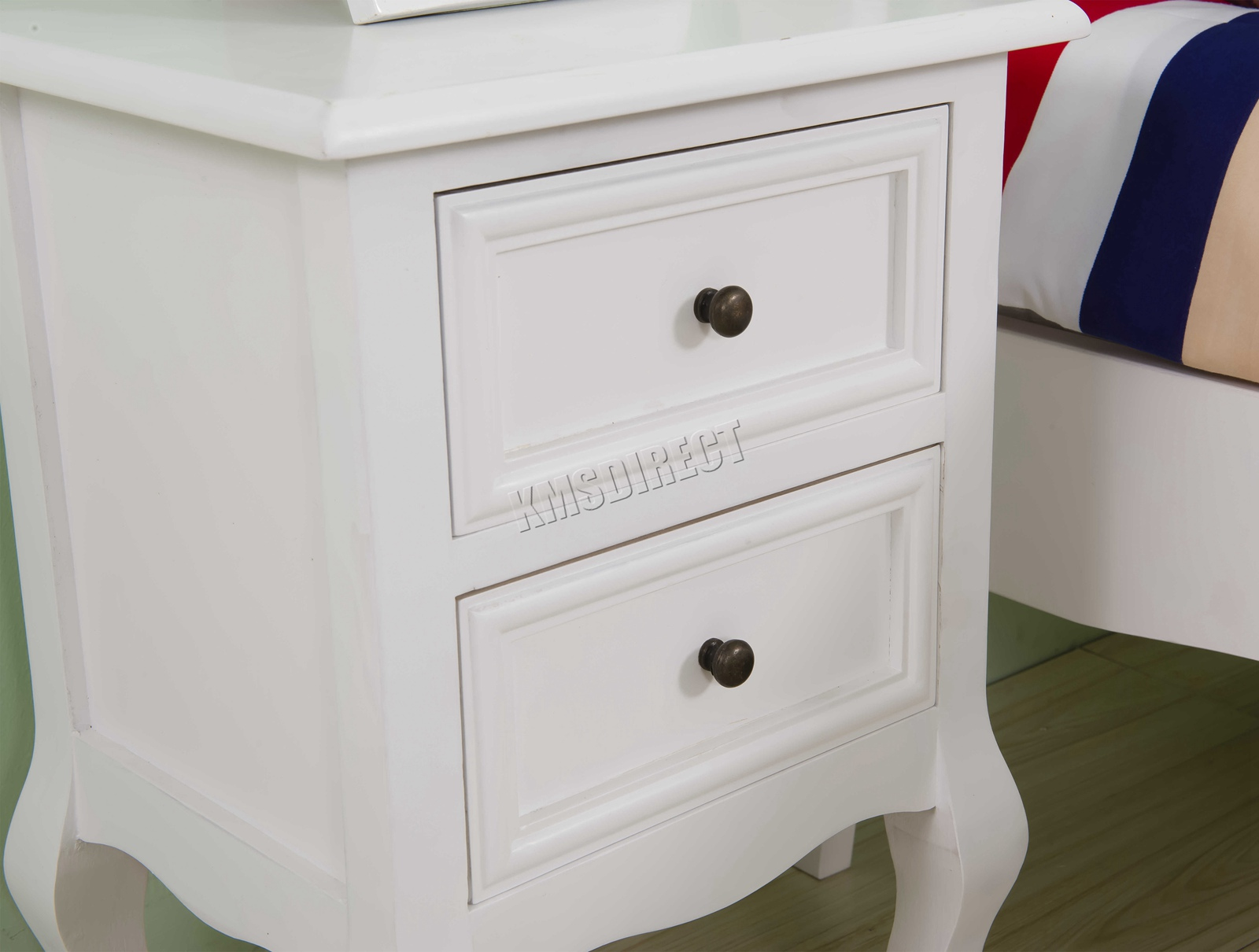 Westwood 1 Pair Vintage Bedside Cabinet Table 2 Drawers