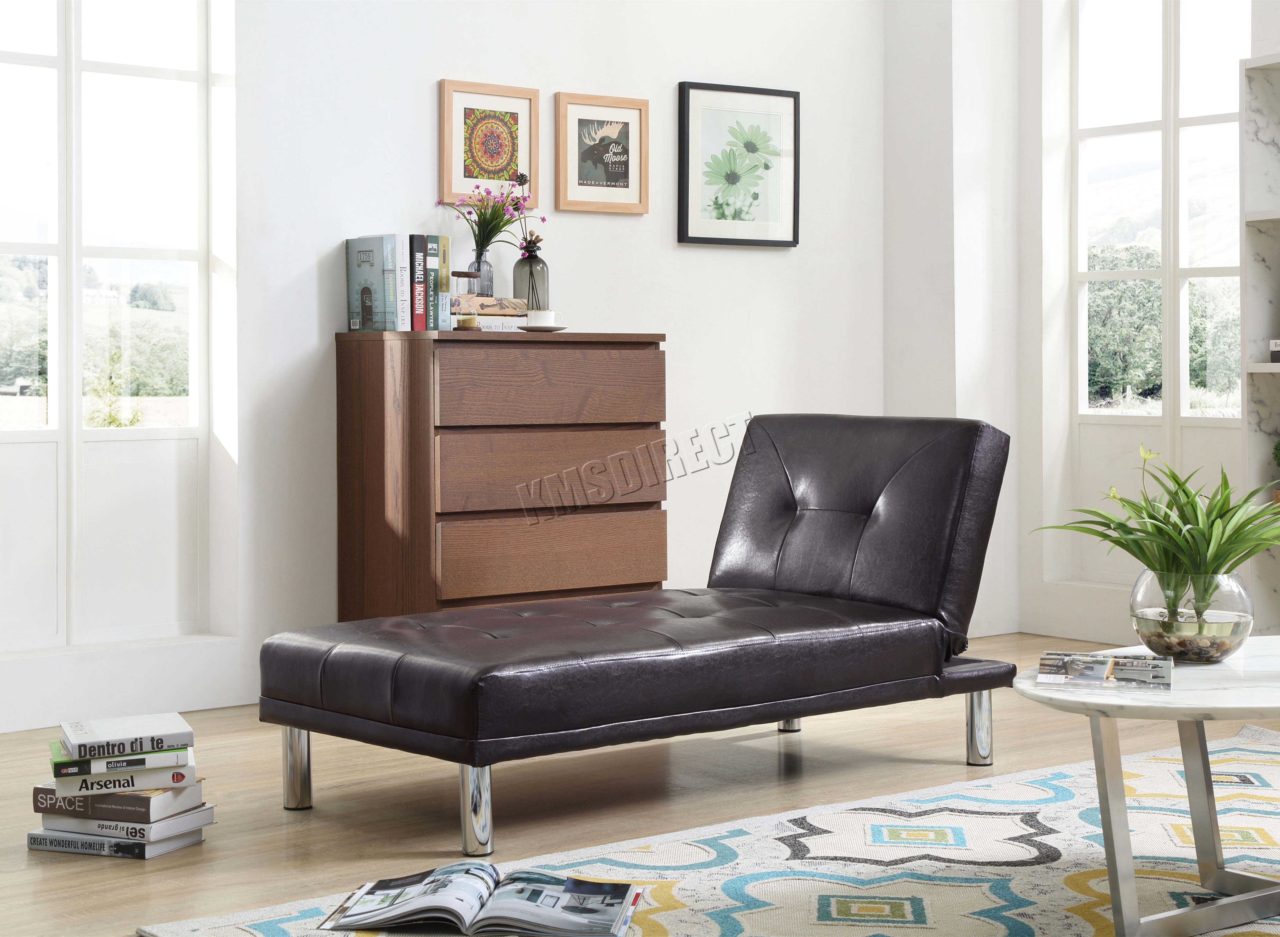 Westwood Chaise Longue Single Sofa Bed 1 Seater Couch Faux