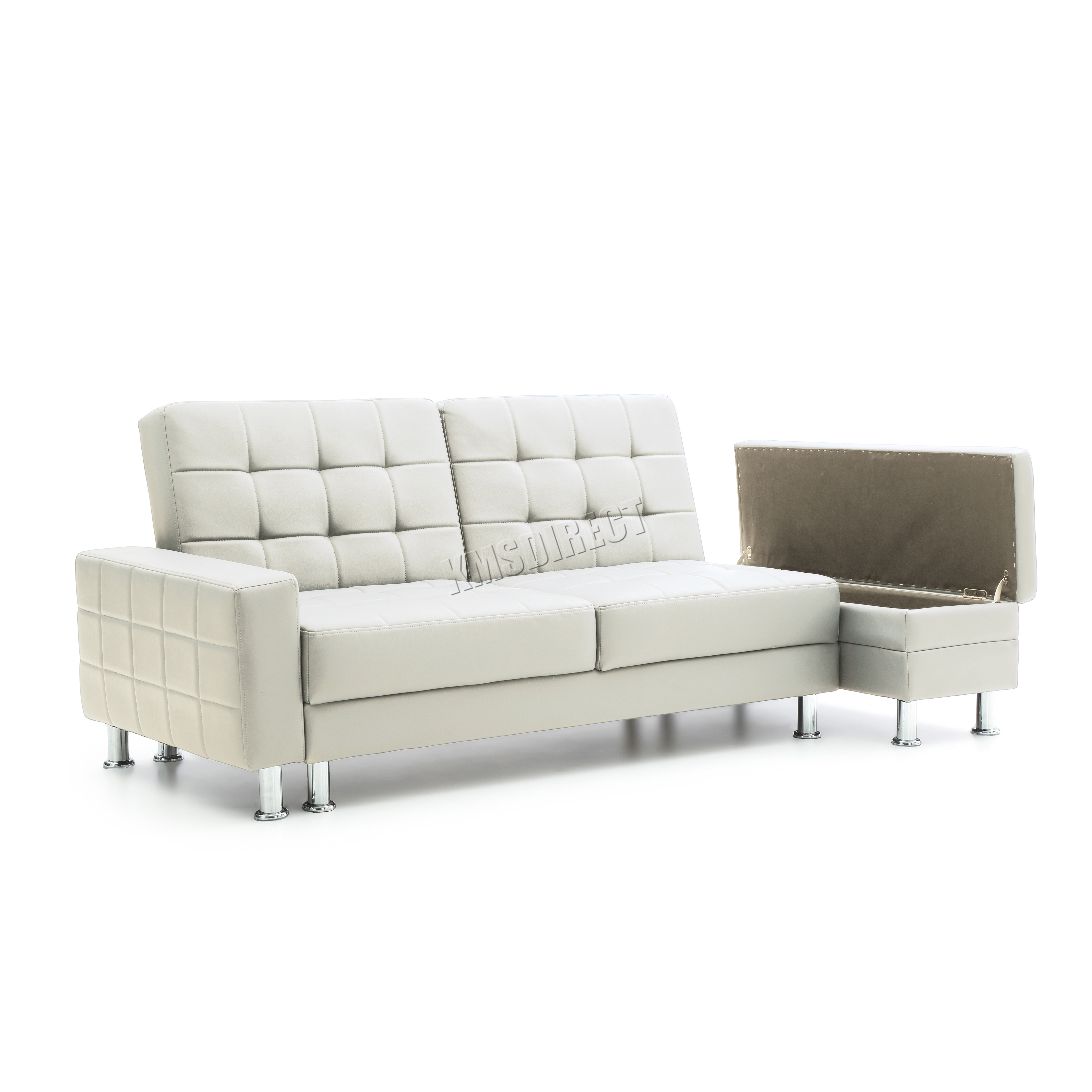 FoxHunter PU Sofa Bed With Storage 3 Seater Guest Sleeper Ottoman