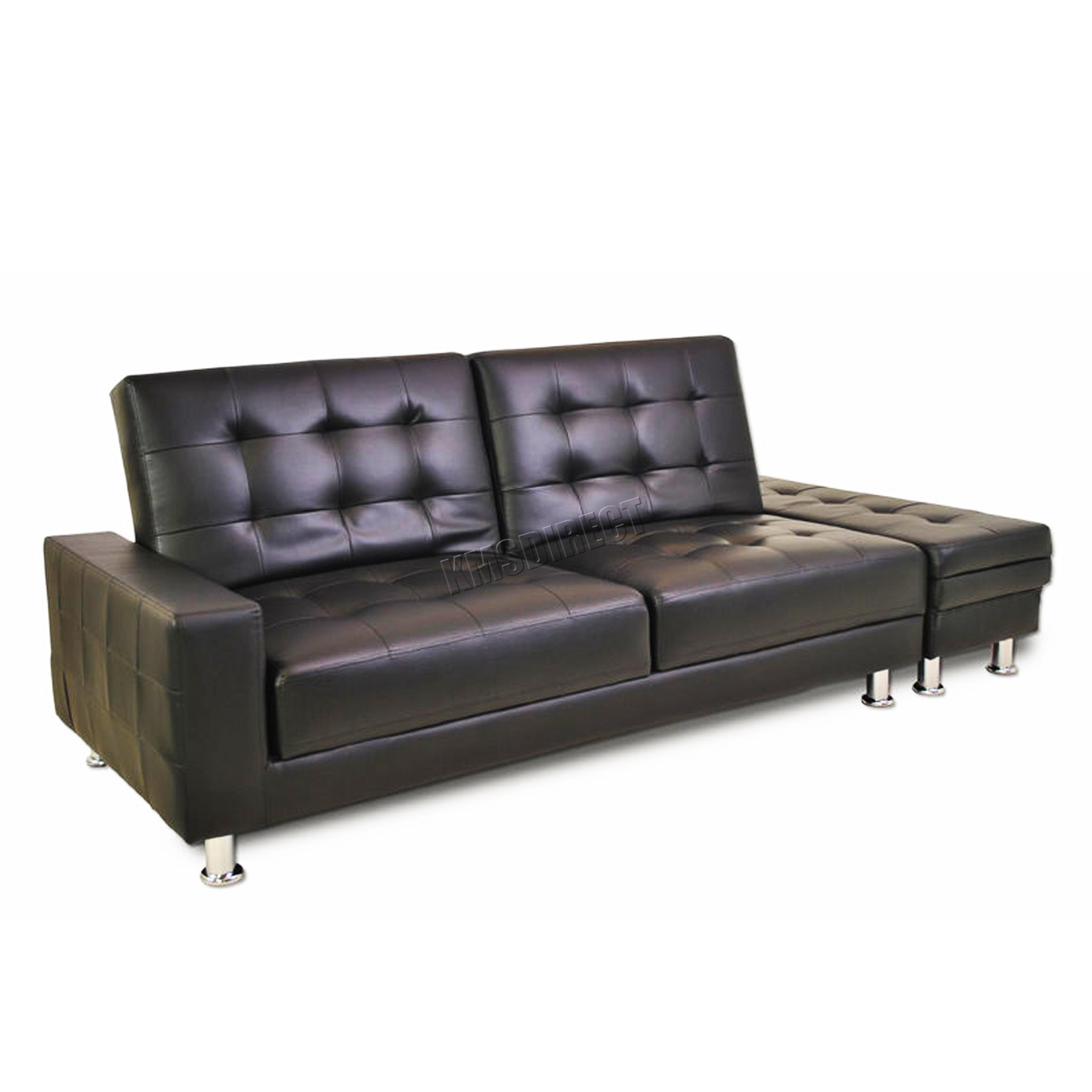Foxhunter PU divano letto con contenitore a 3 POSTI ospite Sleeper ...