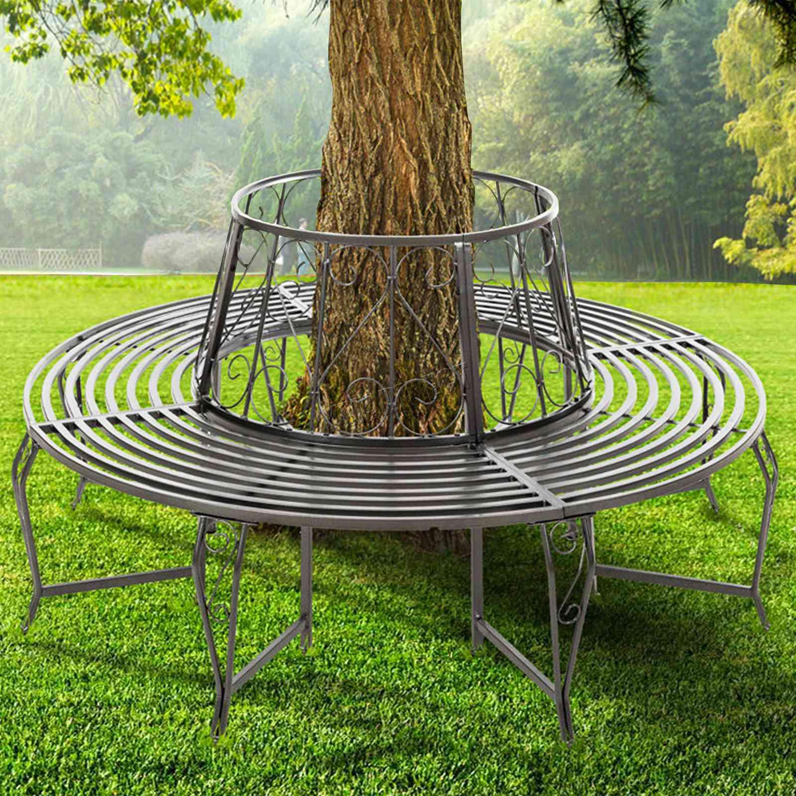 Round Bench Seating: WestWood Outdoor Garden Tree Bench Round Circular Steel