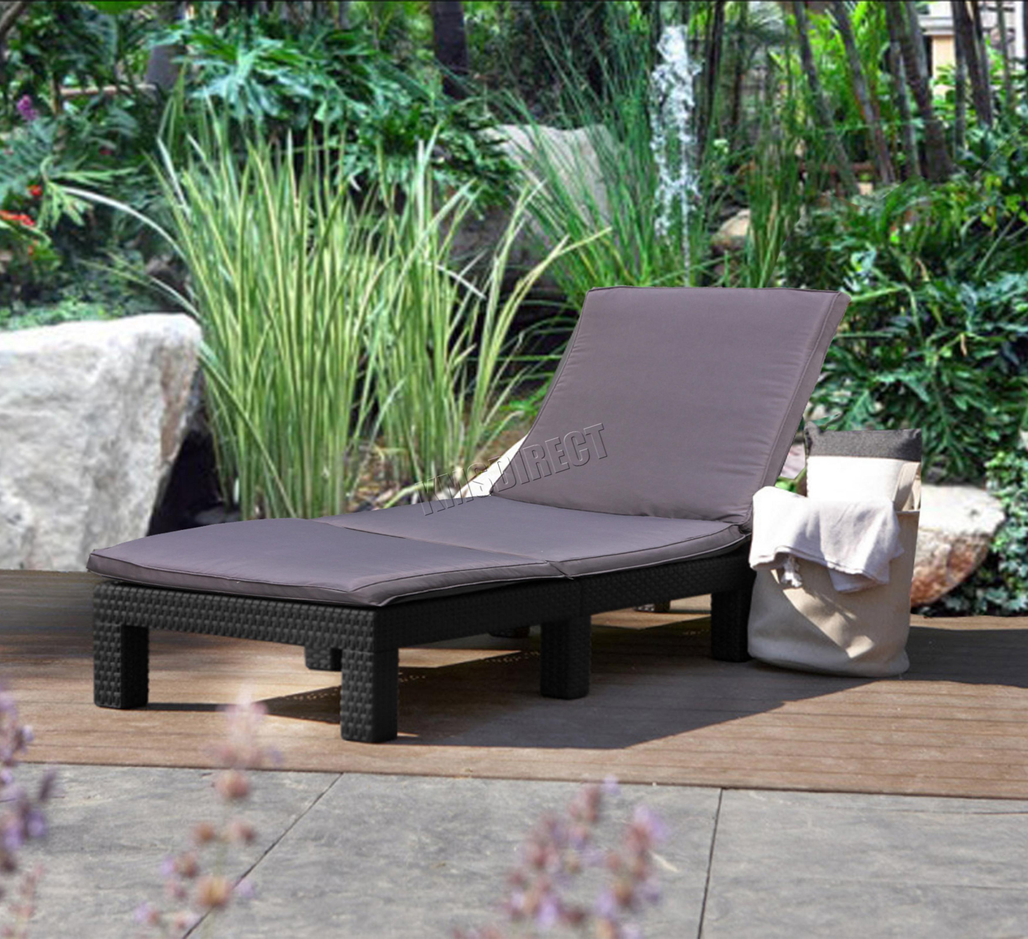 Foxhunter rotin jour chaise inclinable soleil lit longue for Lit exterieur jardin
