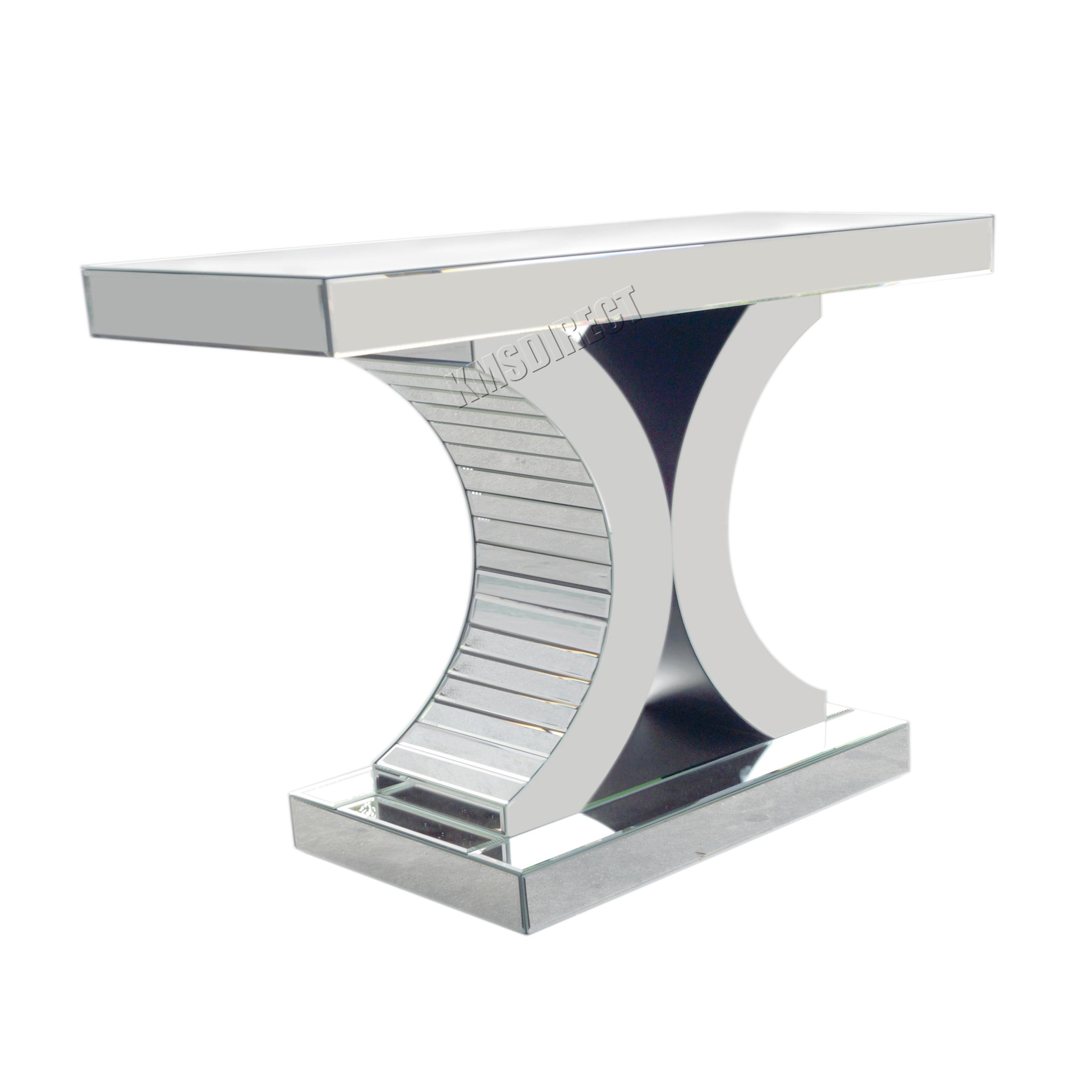 Foxhunter Mirrored Furniture Gl Table Console Desk Bedroom