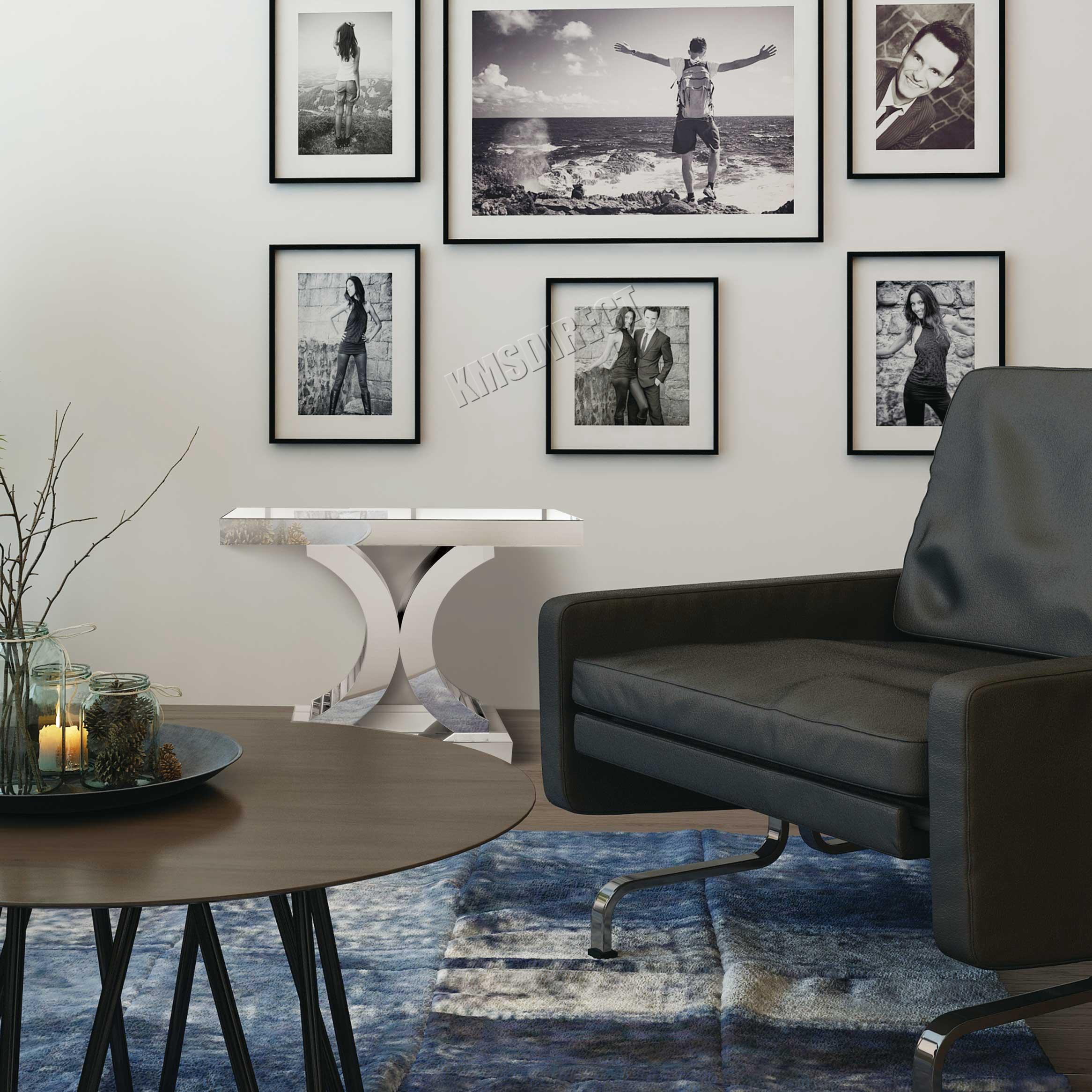 WÄCHTER FoxHunter Gespiegelt Möbel Tisch Konsole Schreibtisch Schlafzimmer  Haus Glashalle Silber