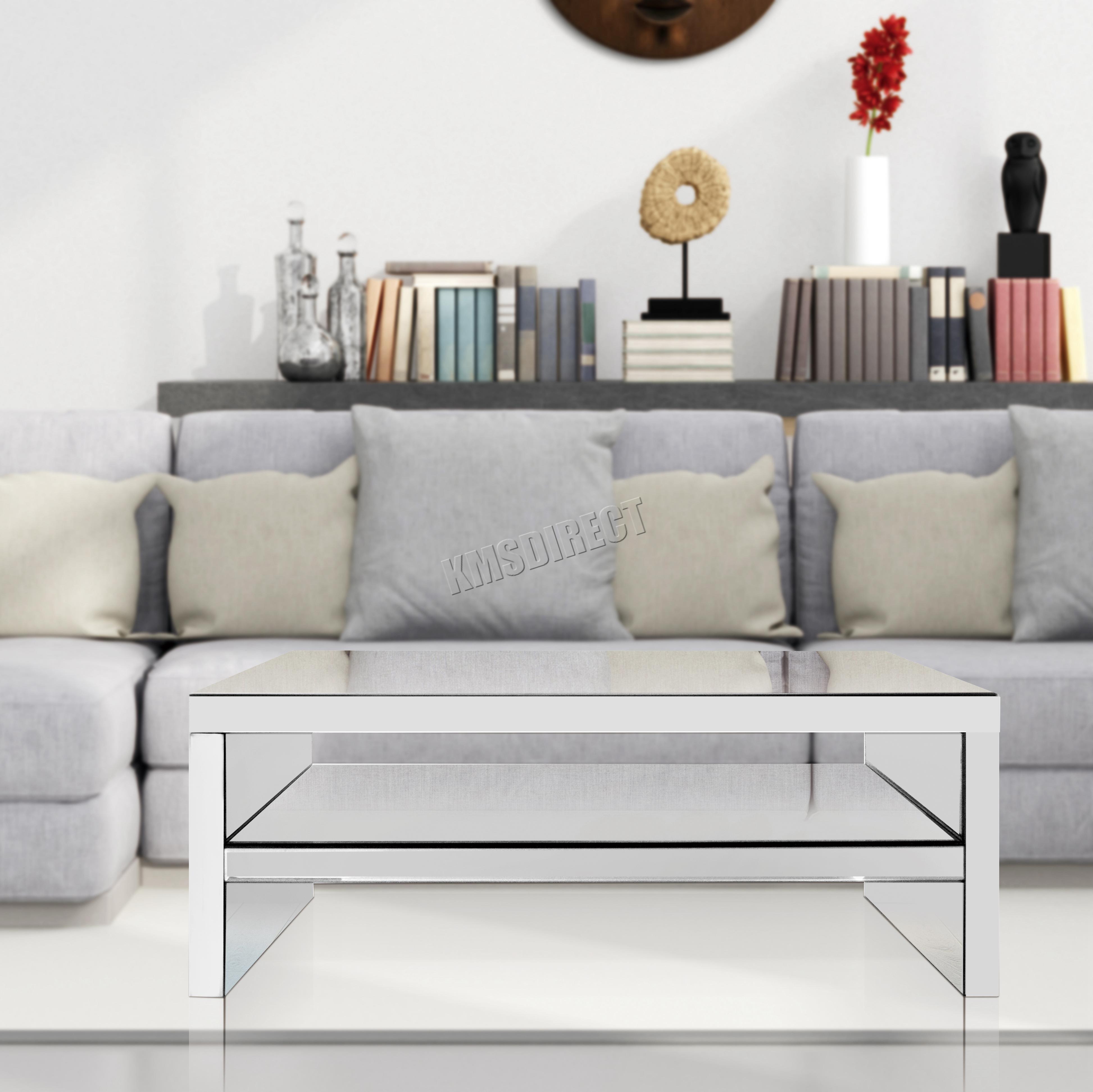 Foxhunter reflectante muebles cristal mesa de centro nivel for Muebles ebay