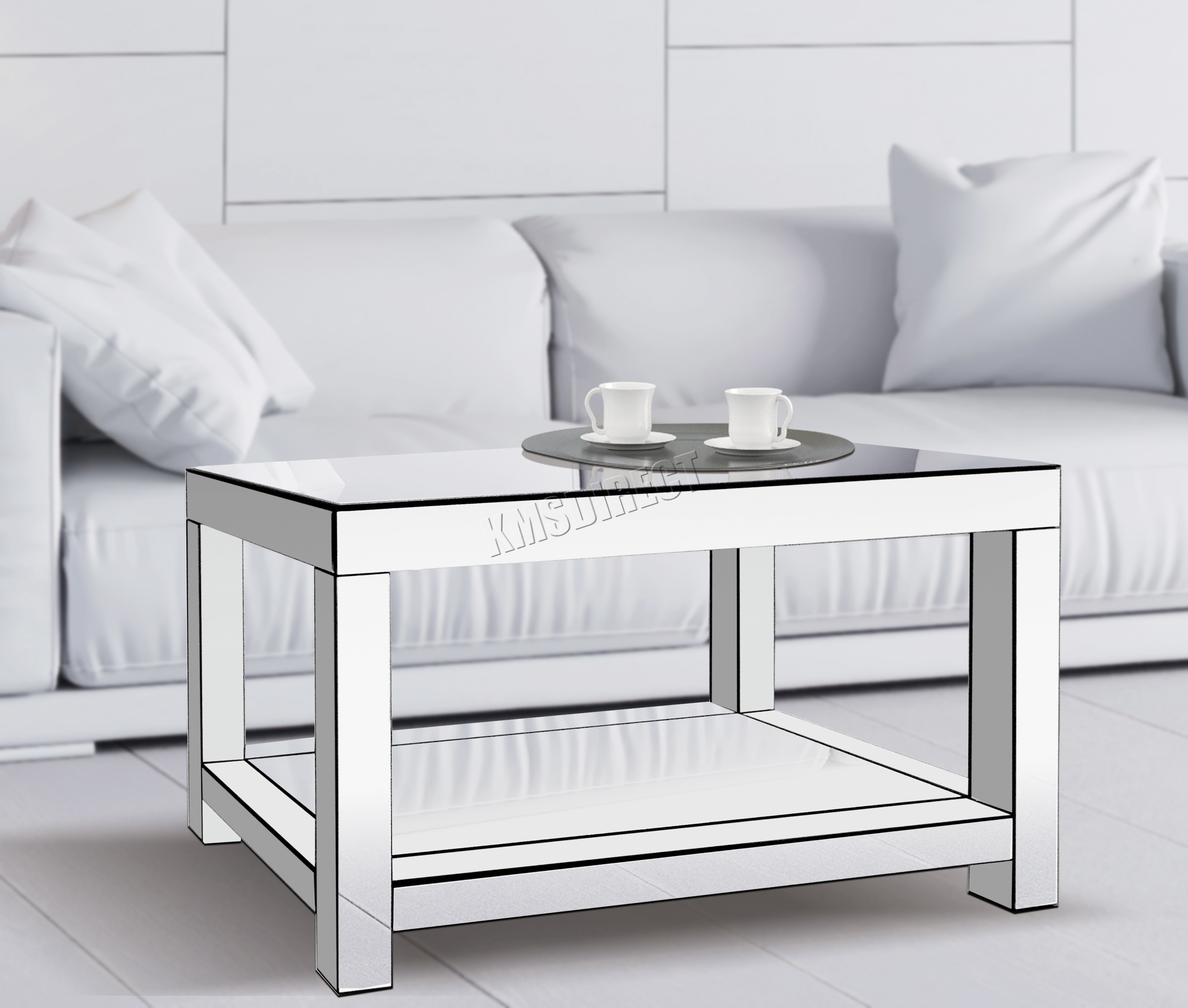 FoxHunter Mirrored Furniture Glass Coffee Table 2 Tier