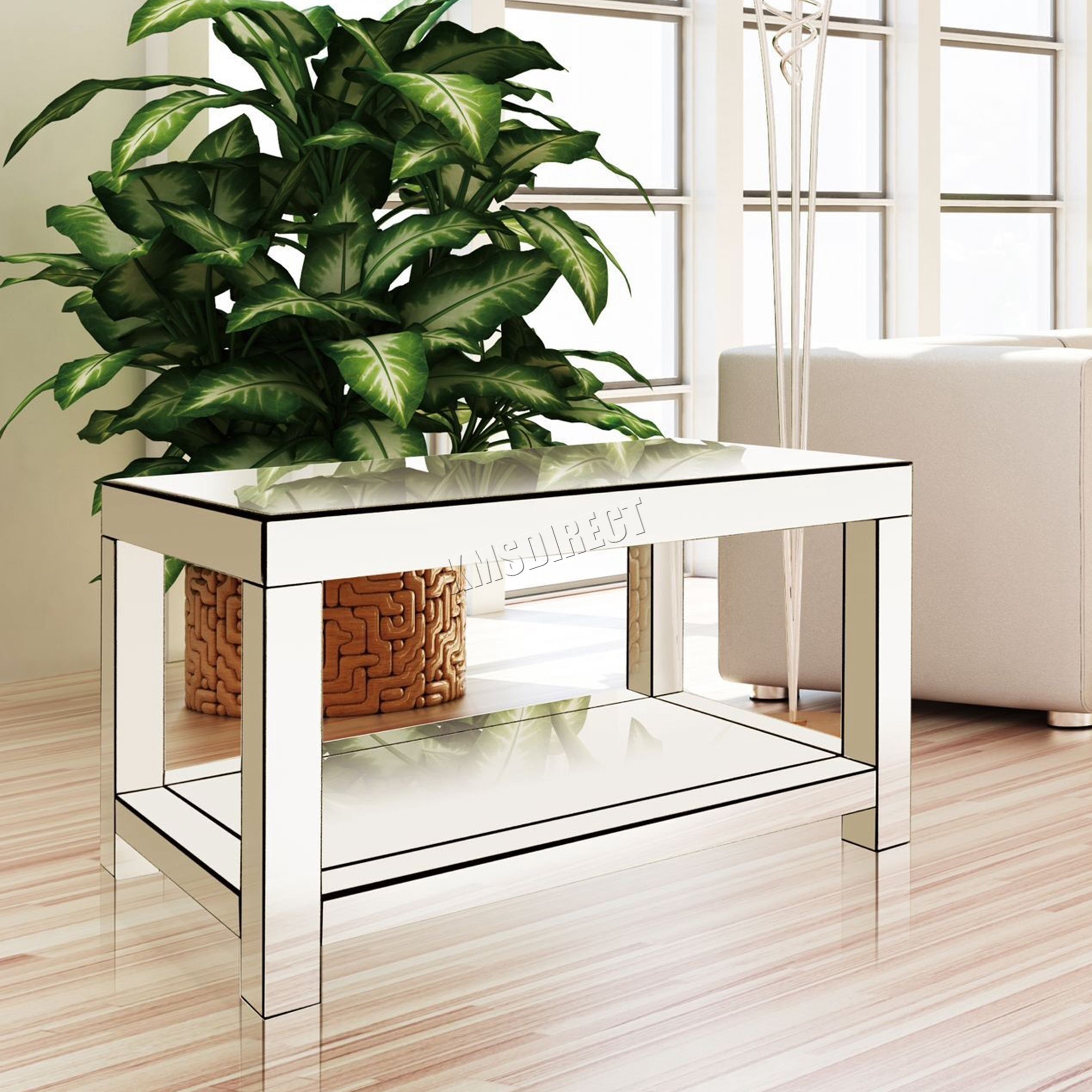 Foxhunter mirrored furniture glass coffee table 2 tier for Does a living room need a coffee table