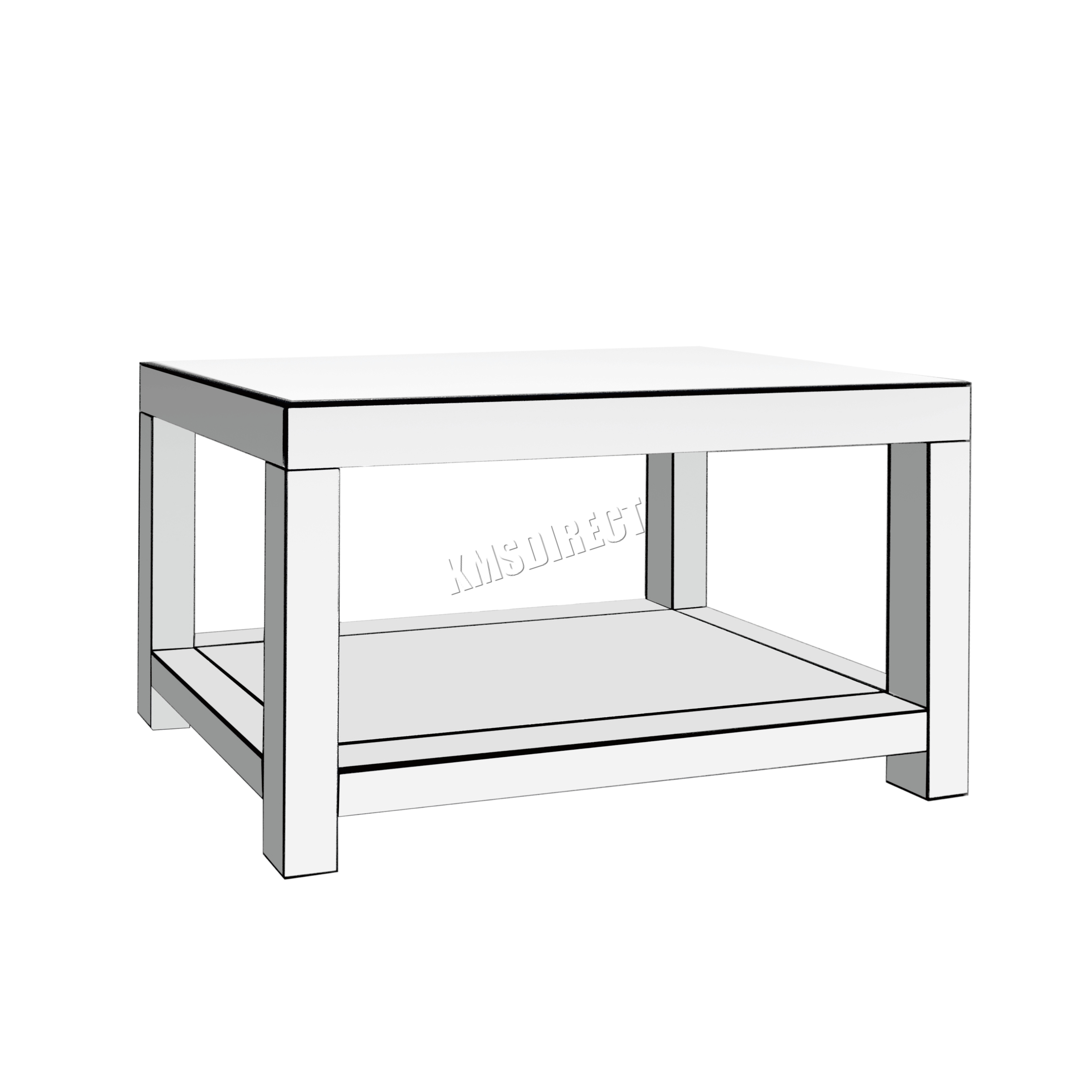 FoxHunter Mirrored Furniture Glass Coffee Table 2 Tier Desk Living