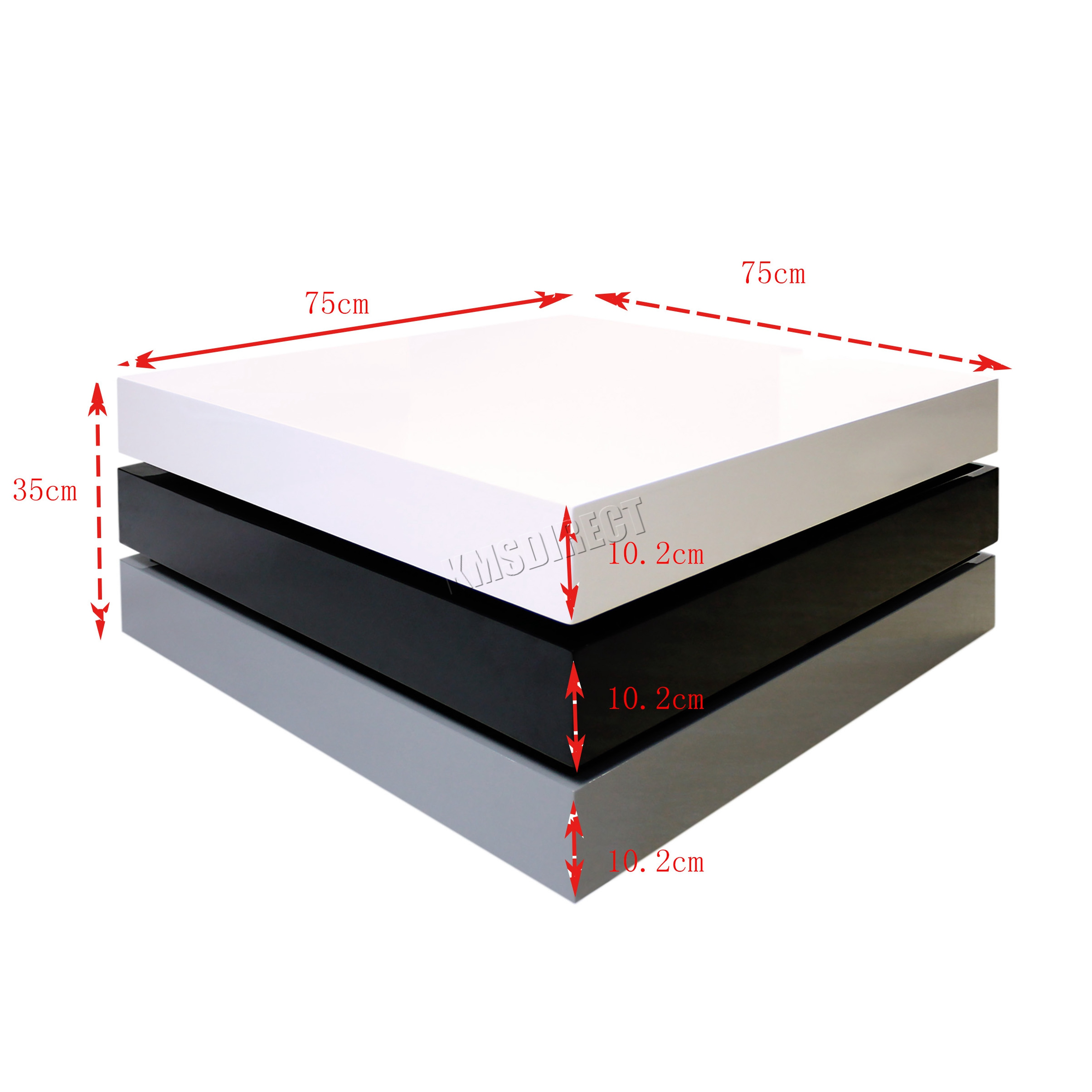 Coffee Table 3 Layers White High Gloss: FoxHunter Rotating Coffee Table 3 Layers High Gloss MDF