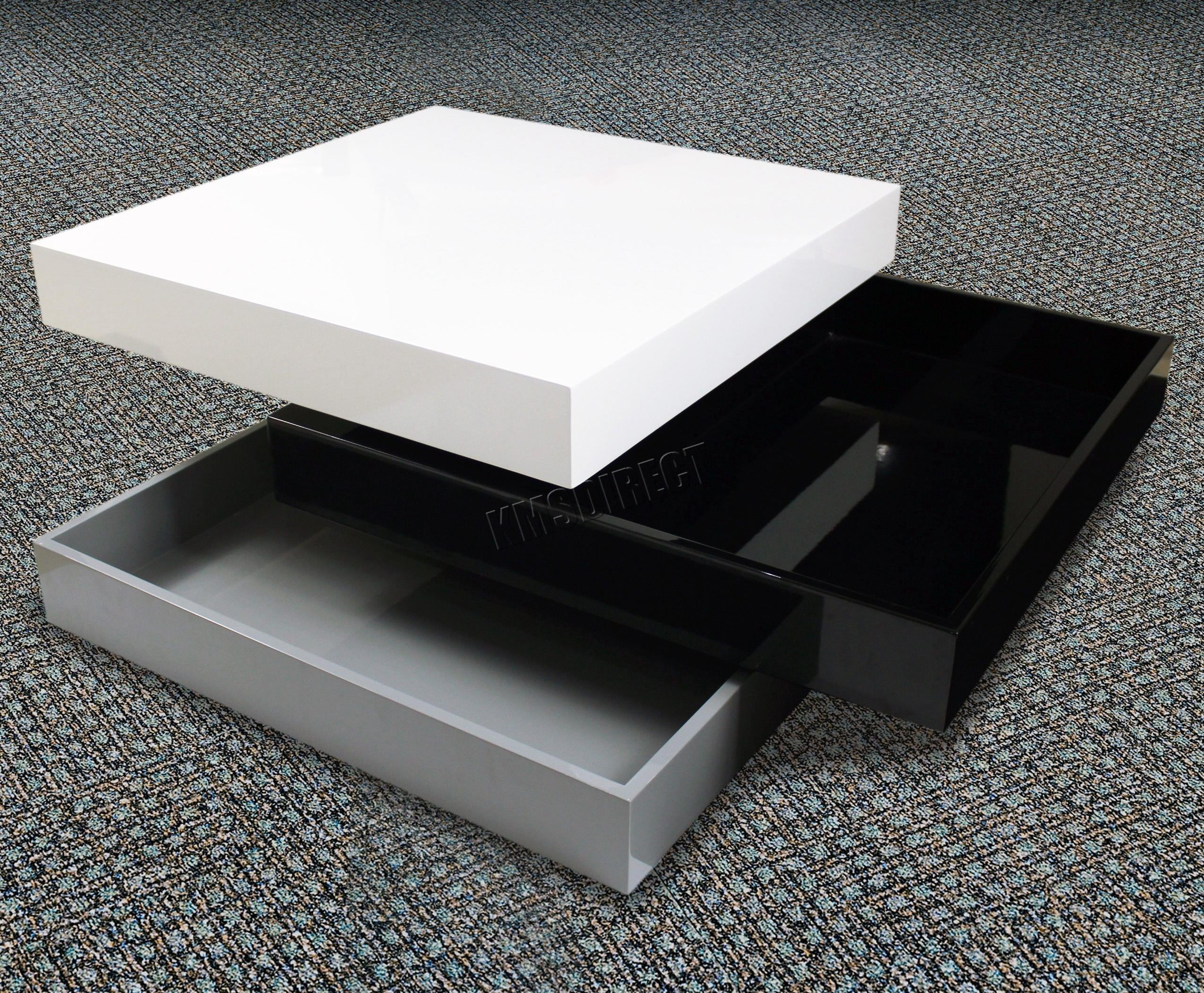 Sentinel Foxhunter Coffee Table 3 Layers Square High Gloss Mdf Ct03 Black Grey White New