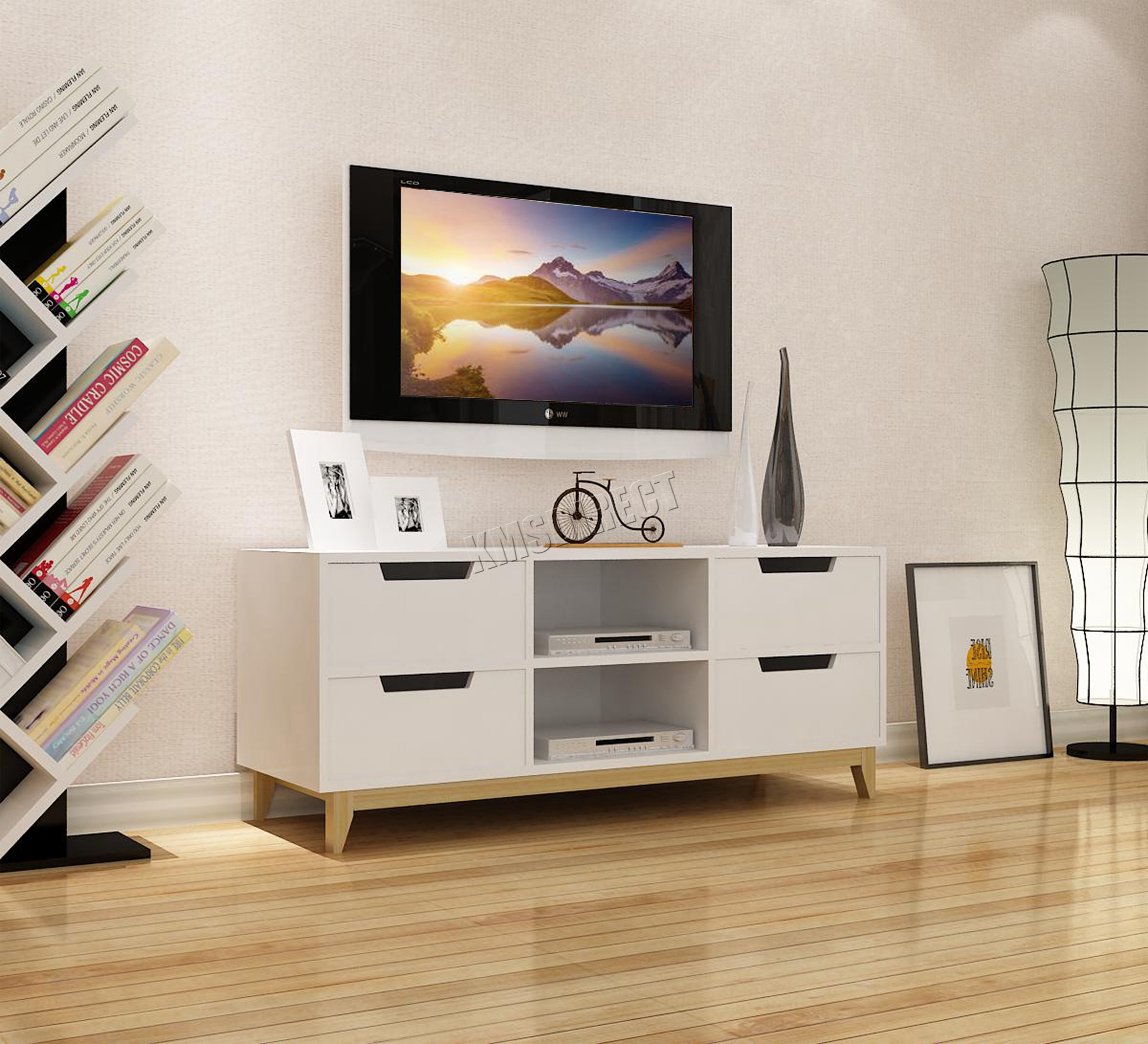 white furniture gloss mdf stand high cabinet with itm abce led drawer unit home tv light