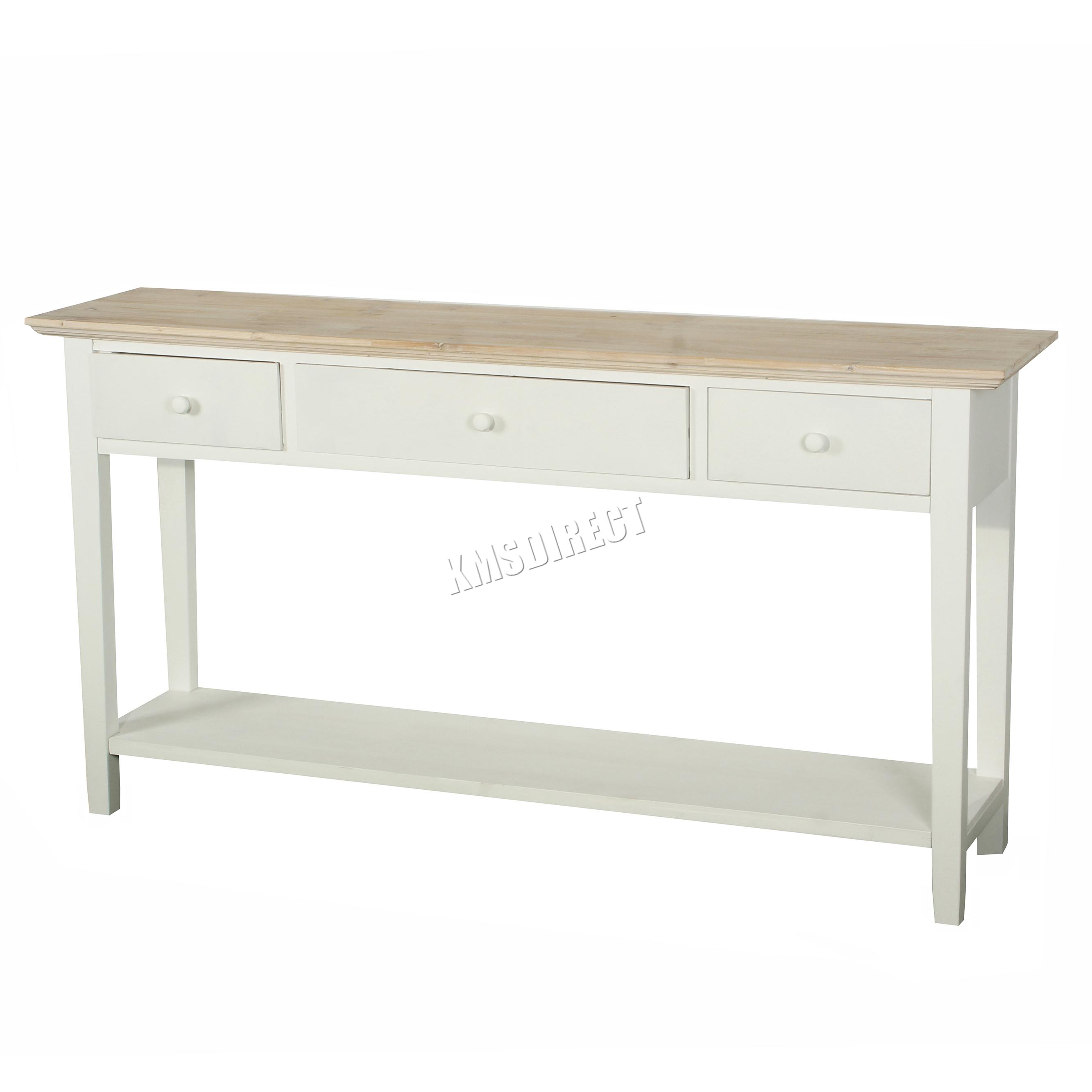Foxhunter Console Table 3 Drawers Wood Hallway Side Storage Hall Kitchen Ctw02 Ebay