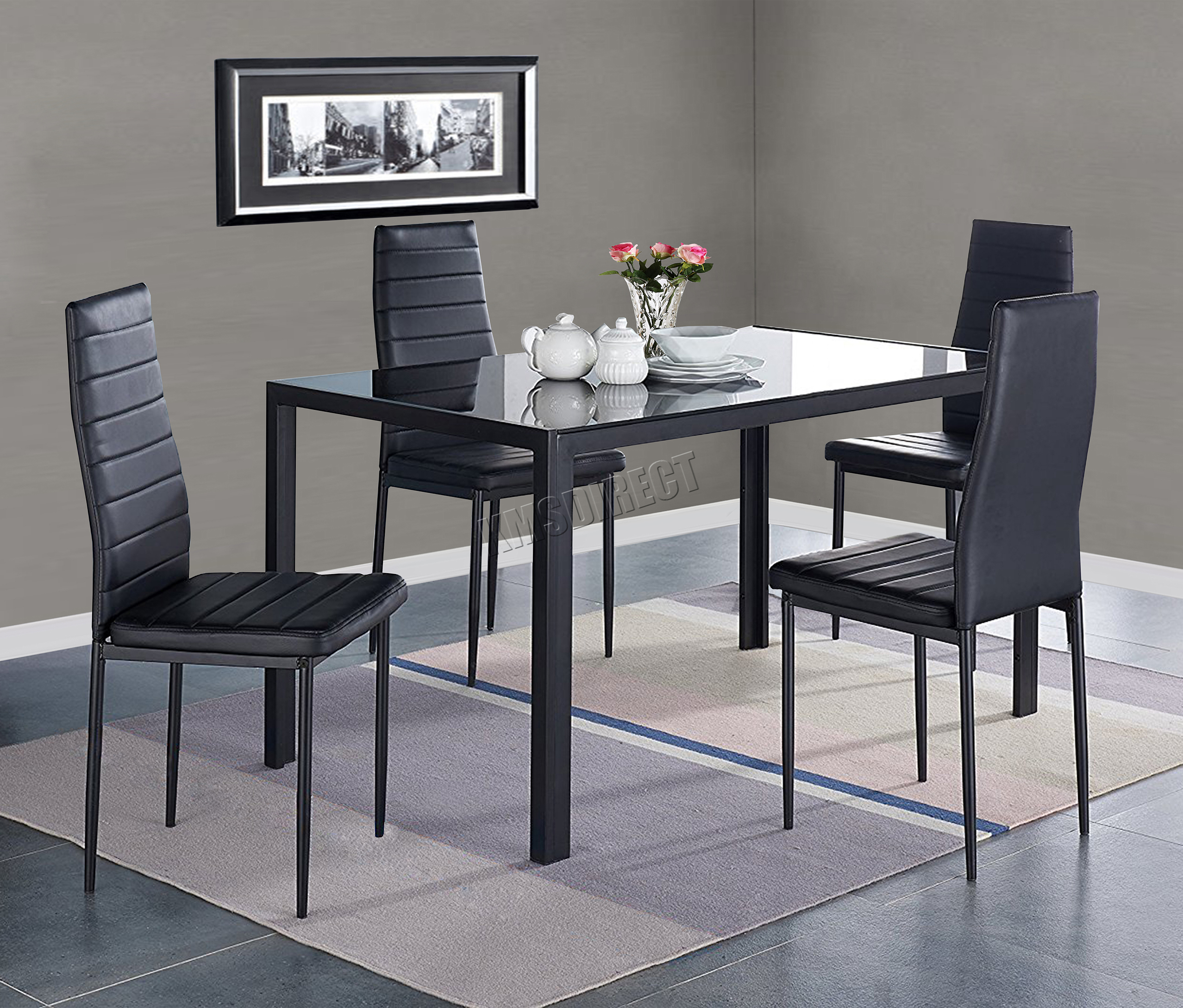 FoxHunter Glass Dining Table With 4/6 Chairs Set Faux