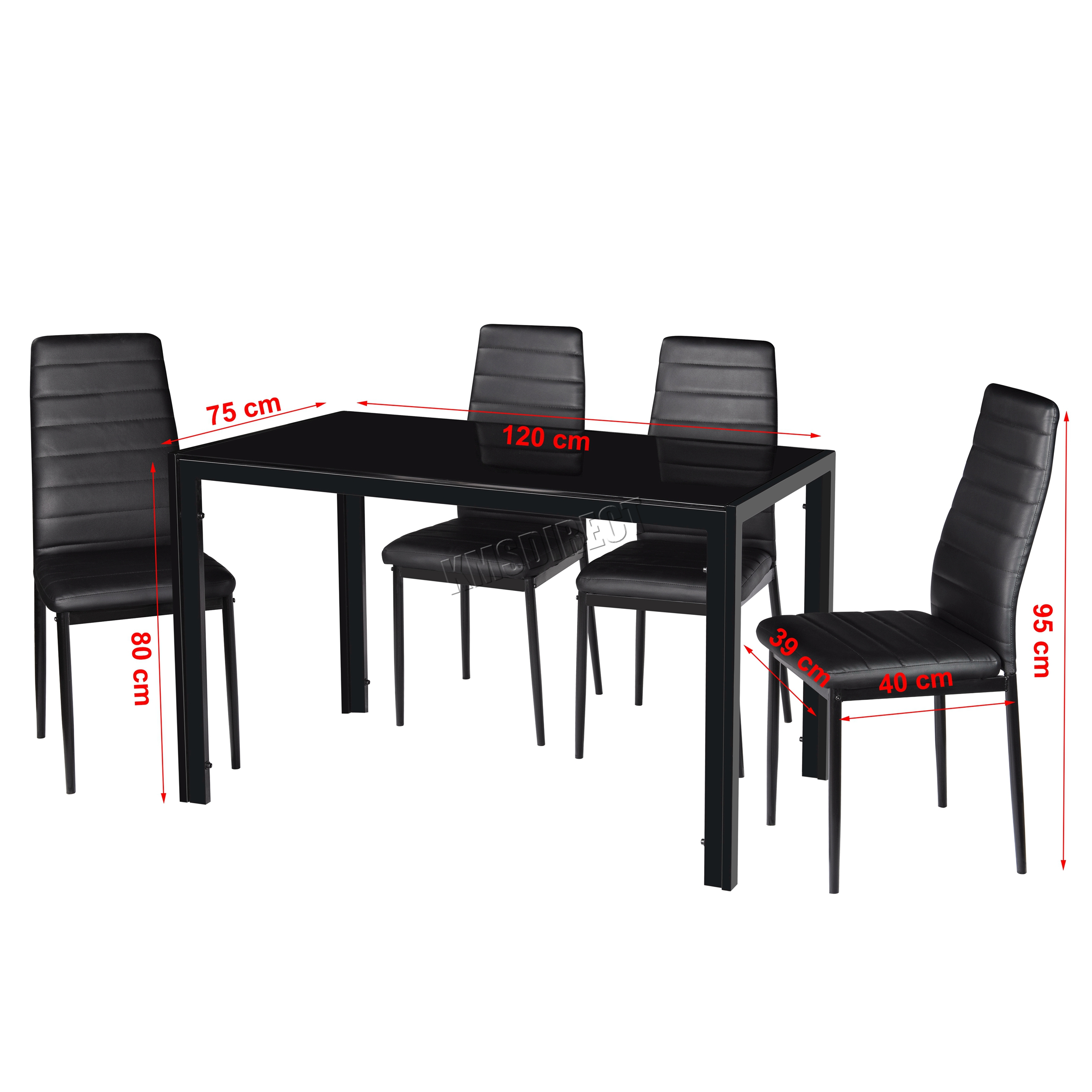 Foxhunter glass dining table with 4 6 chairs set faux for Black dining sets with 4 chairs