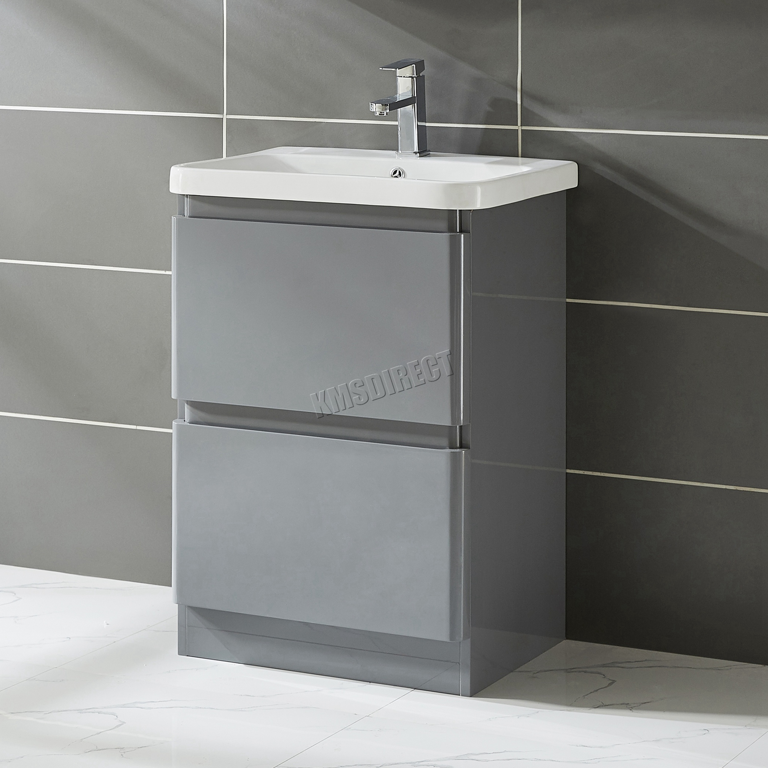 high gloss grey bathroom cabinets foxhunter vanity unit mdf high gloss 2 drawers basin 23322 | VANITY UNIT MDF VU03 FLOOR 60CM GREY KMSWM01