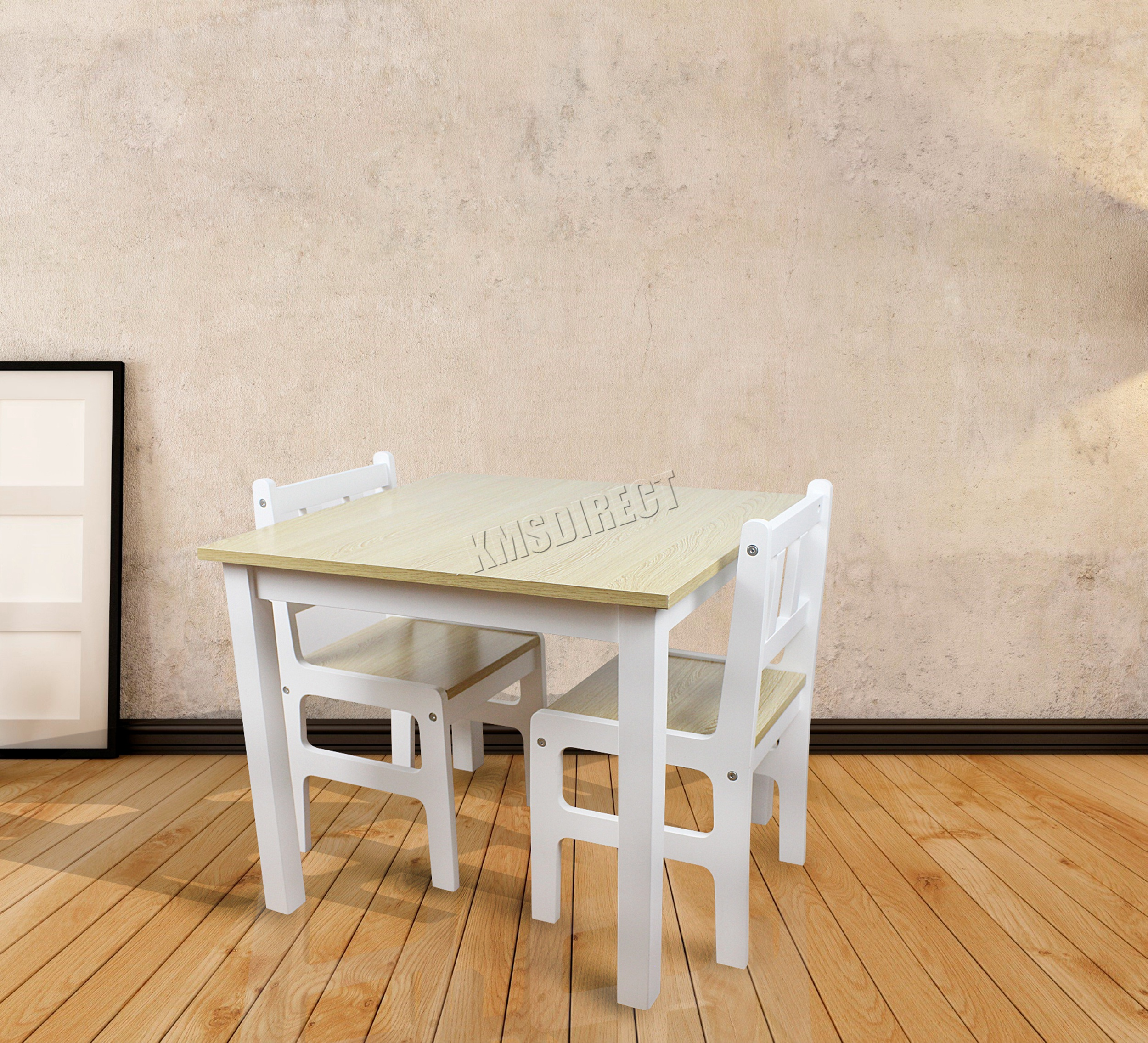 FoxHunter Kids Table With 2 Chairs set Children Toy Playroom Wood
