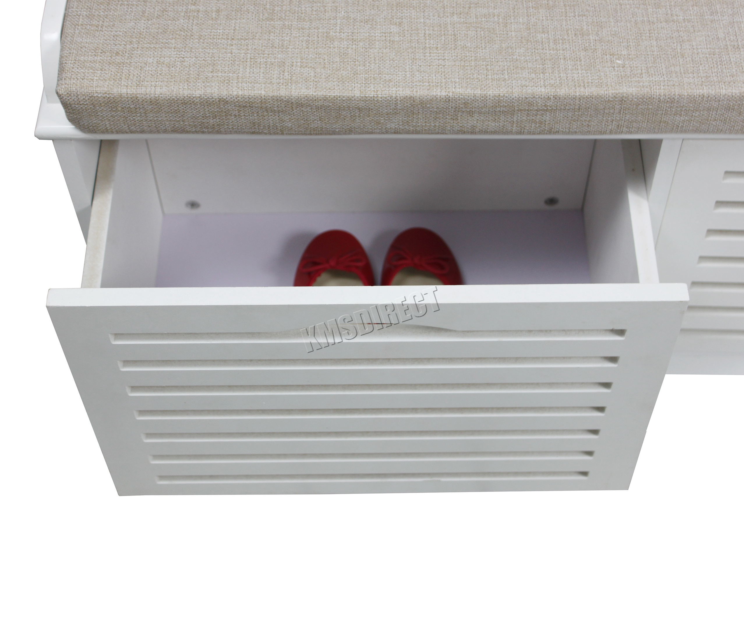 Foxhunter Shoe Storage Bench With Drawers Padded Seat Stool Cabinet Mdf White Ebay