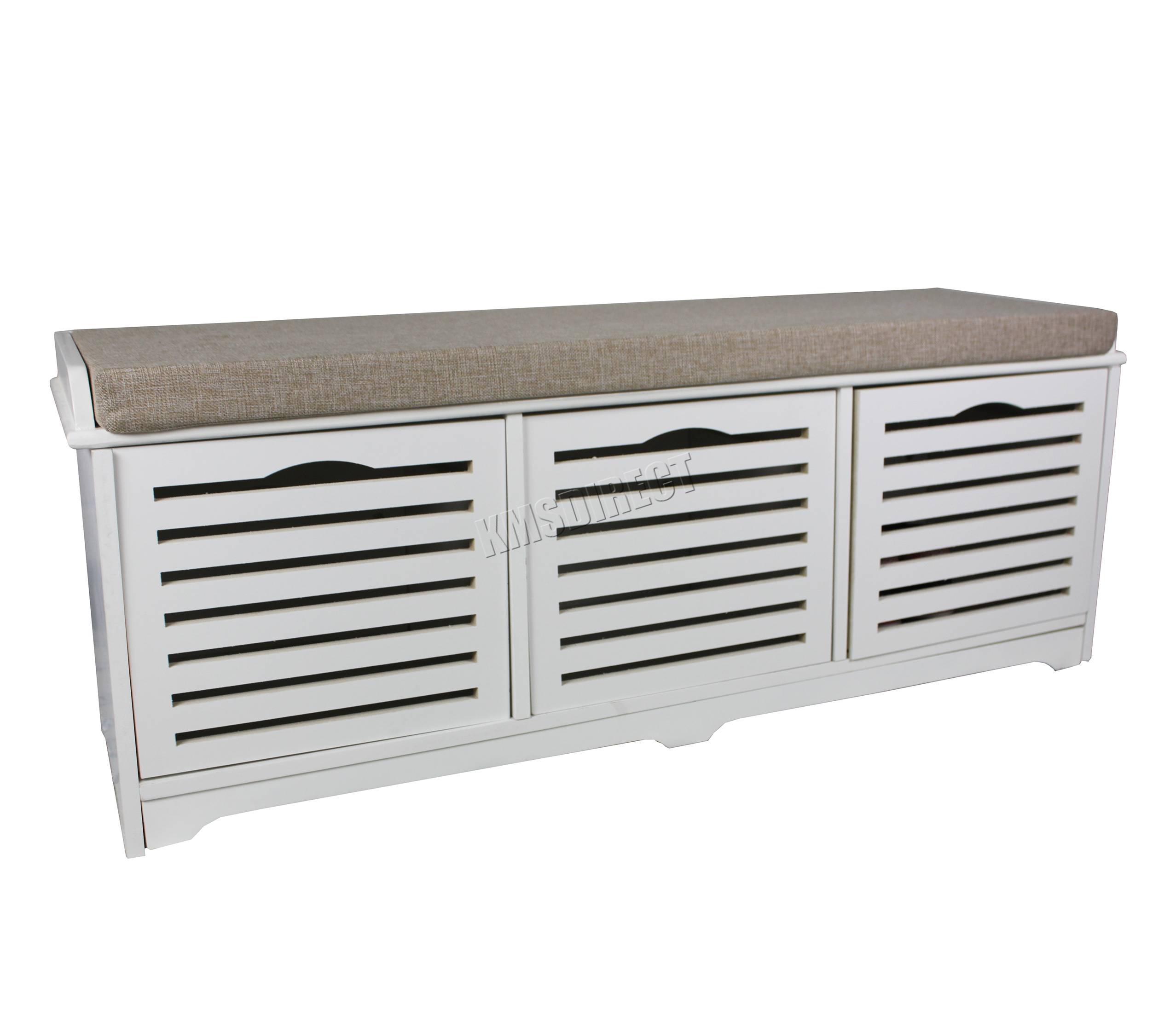Foxhunter shoe storage bench with drawers padded seat stool cabinet mdf white ebay Shoe cabinet bench