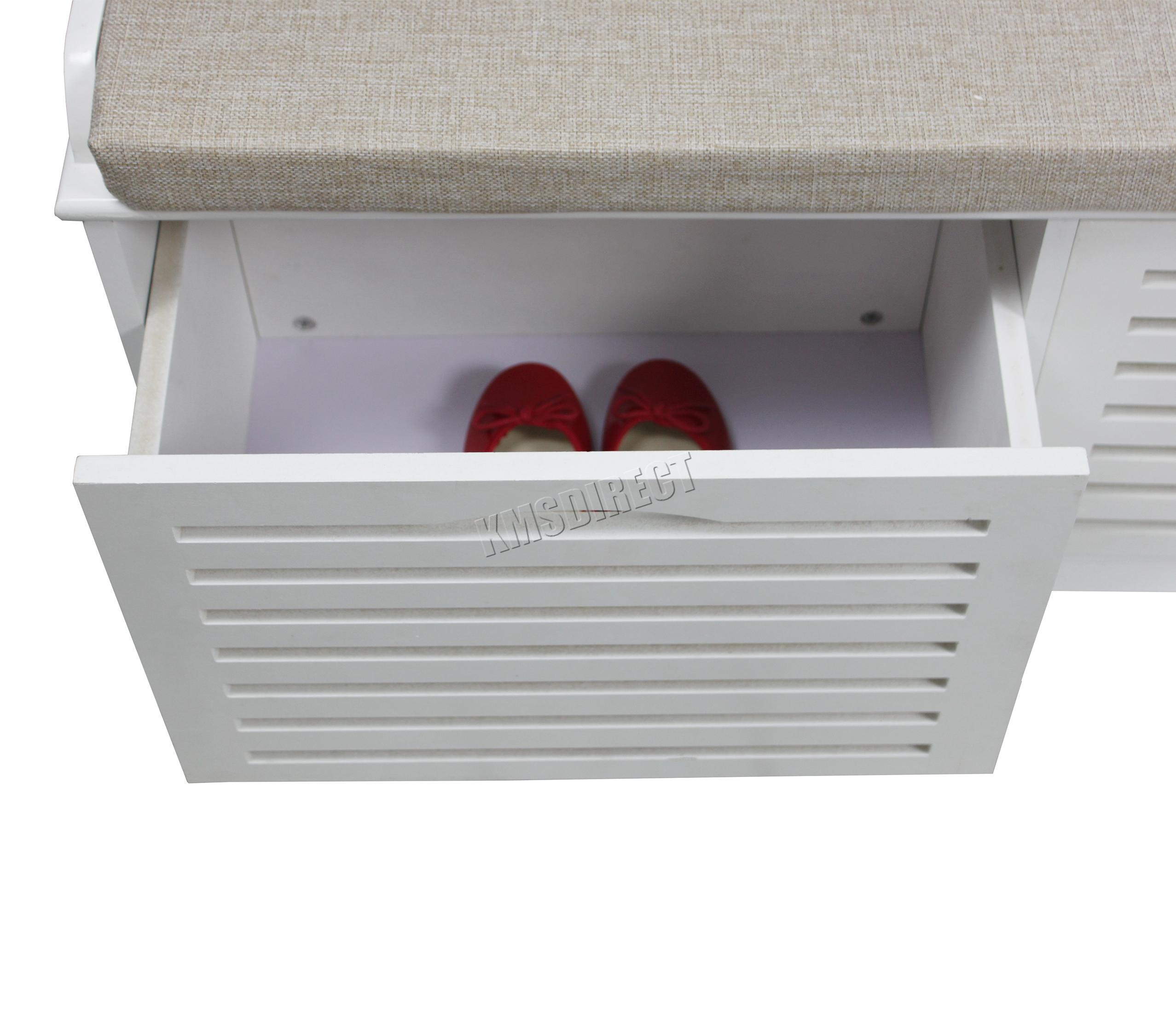 FoxHunter Almacenamiento zapatos Banco con cajones asiento acolchado ...