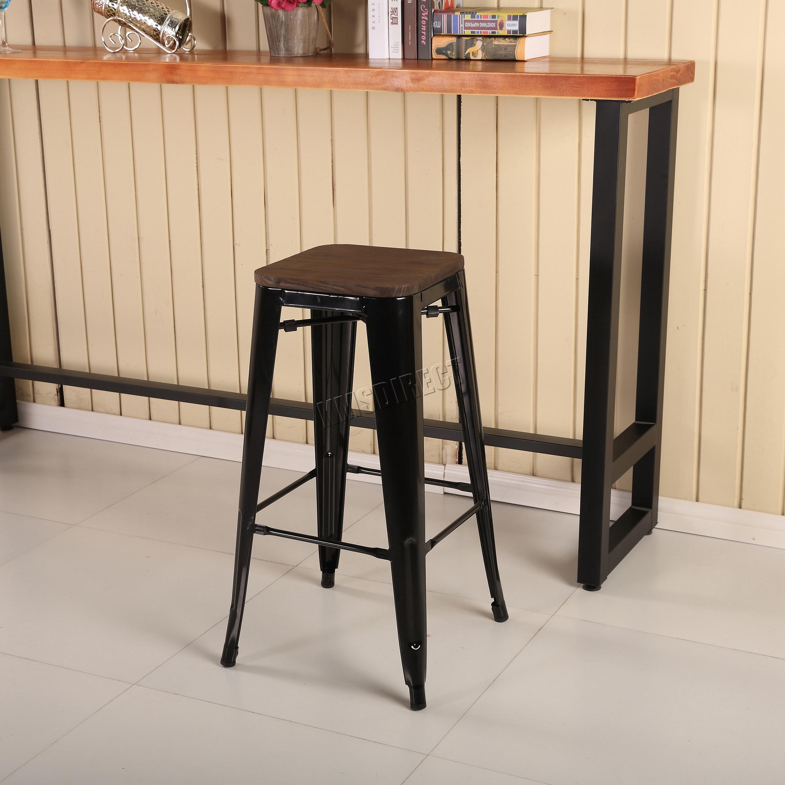 foxhunter 2 4 metal tolix vintage bar esszimmer hocker stuhl mit holz mds02 paar ebay. Black Bedroom Furniture Sets. Home Design Ideas
