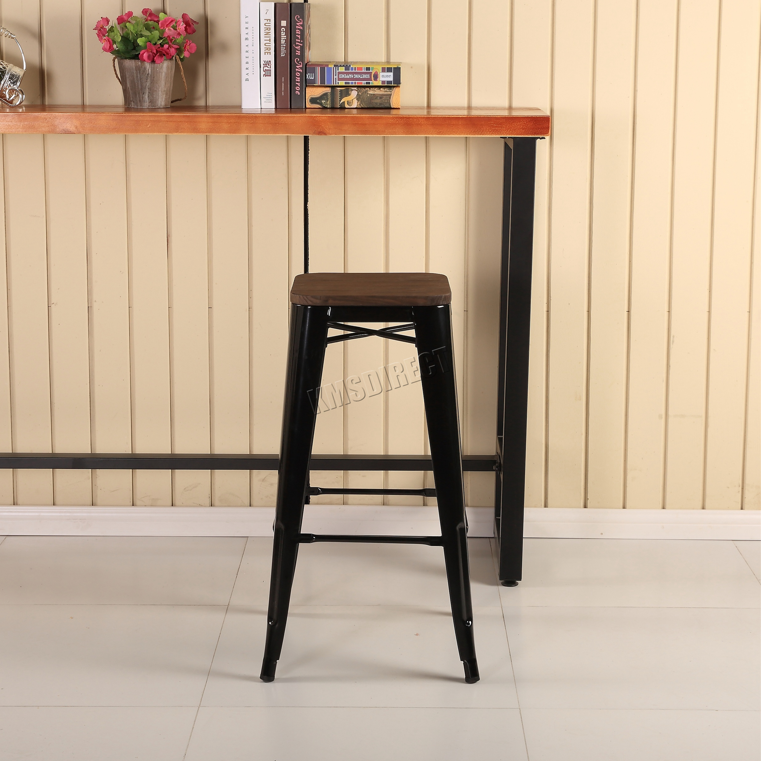 Foxhunter 2 4 metal tolix vintage barra comedor silla for Comedor con taburetes