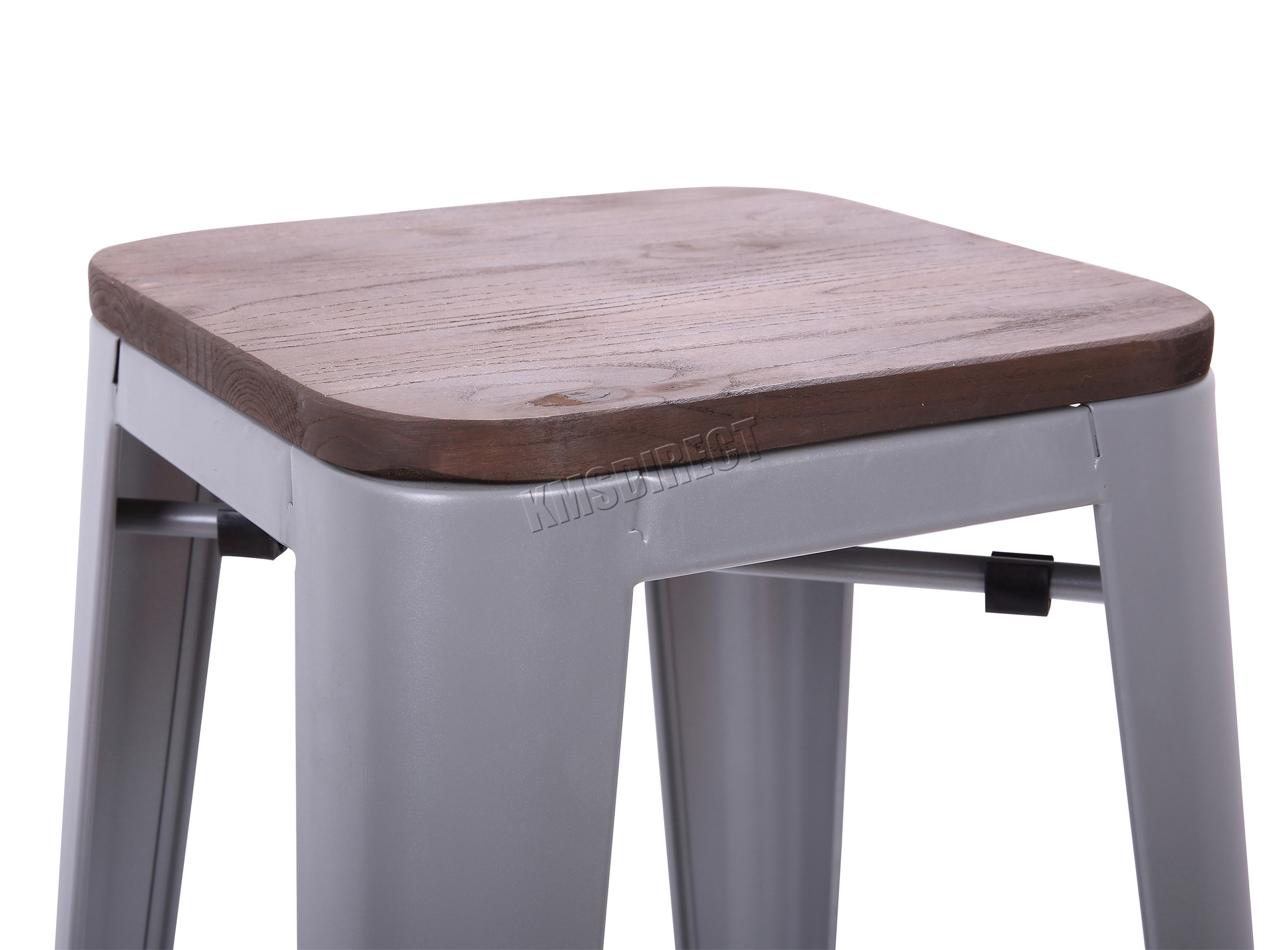 Foxhunter 2 4 metal tolix vintage bar dining stool chair with wood