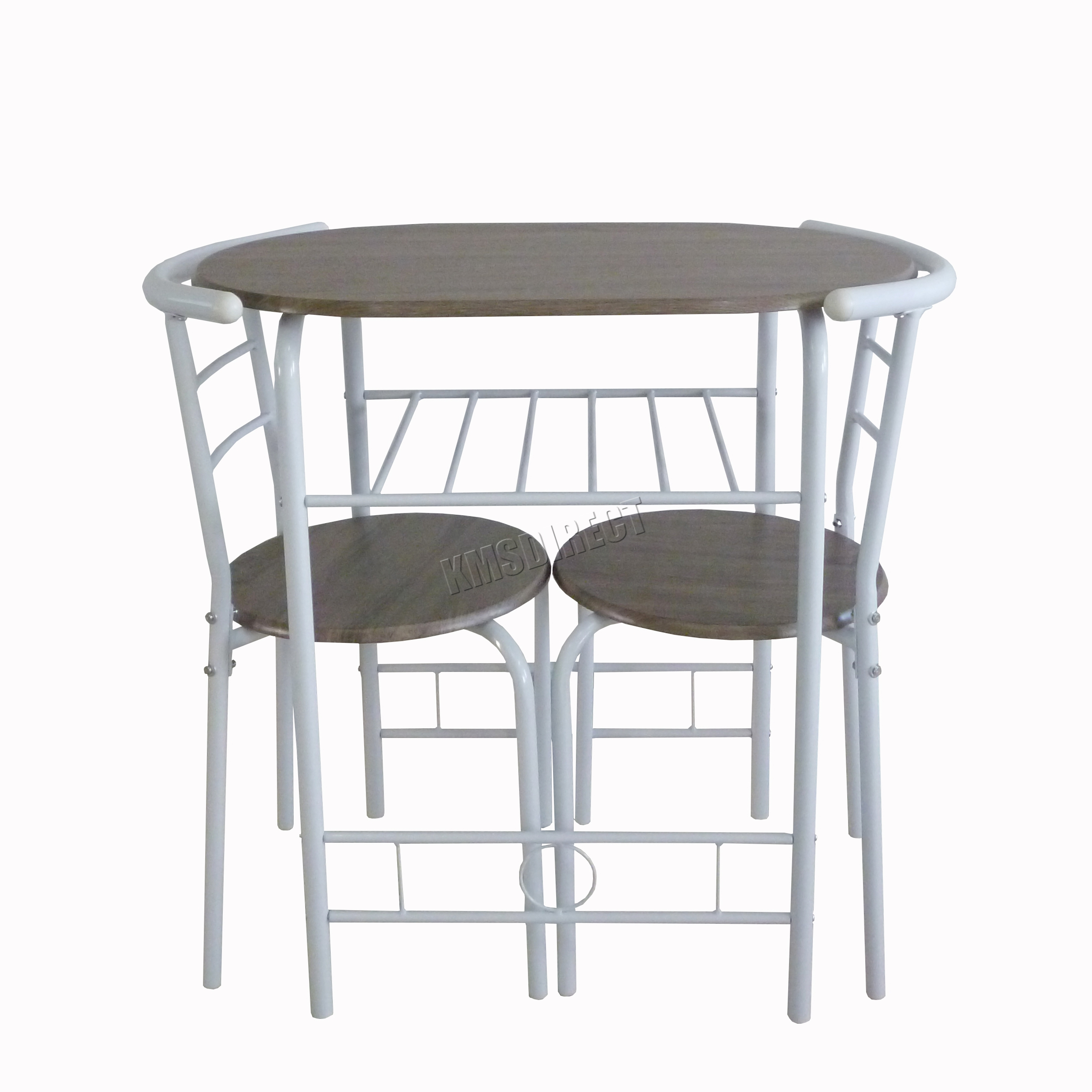Foxhunter dining table breakfast bar 2 chair set metal mdf - White metal dining table ...