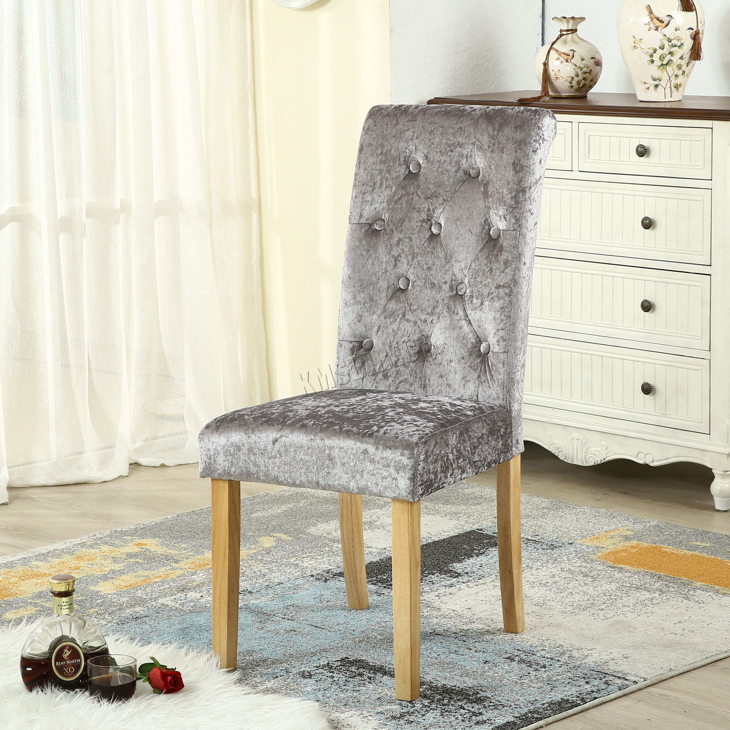Westwood crush velvet fabric dining chairs scroll high for High back fabric dining room chairs