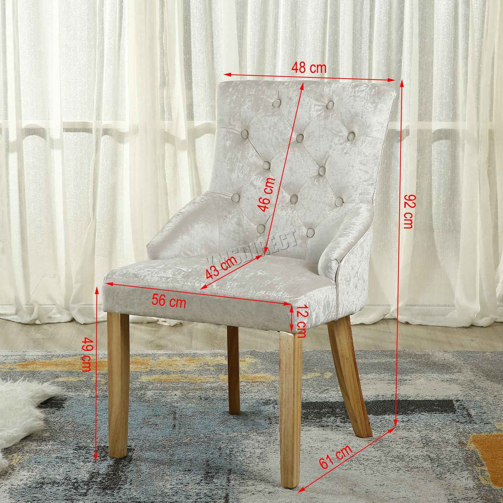 Westwood Modern Crush Velvet Fabric Dining Chairs Scoop