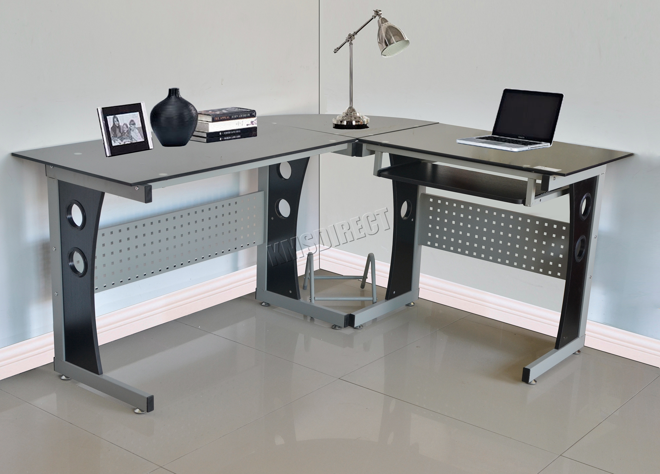 Sentinel Westwood L Shaped Corner Computer Desk Pc Table Home Office Study Cd11 Black