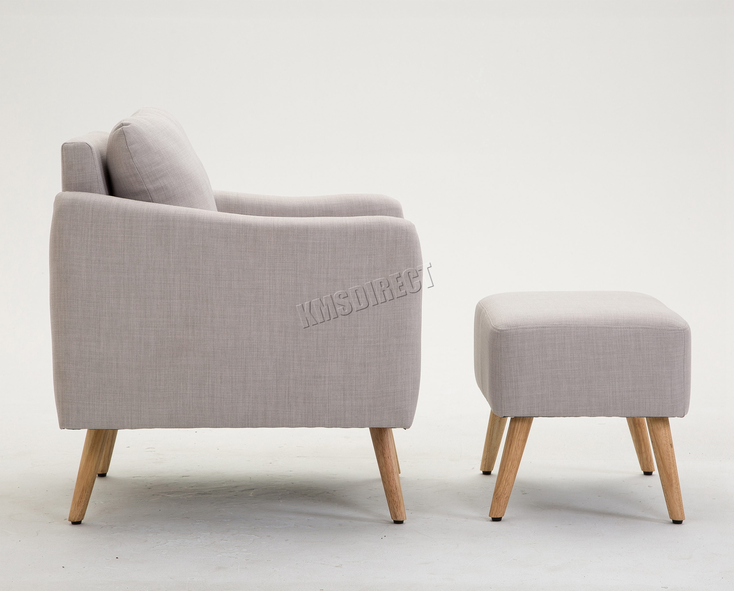 FoxHunter Fabric Armchair Lounge Tub Chair With Foot Stool Sofa ...