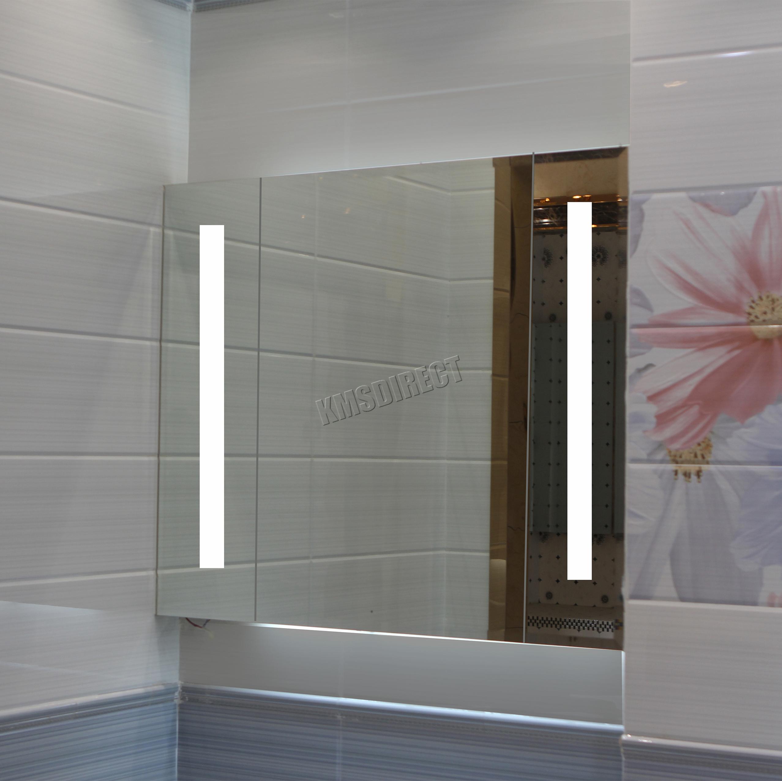 FoxHunter LED Illuminated Mirror Bathroom Cabinet Steel Storage
