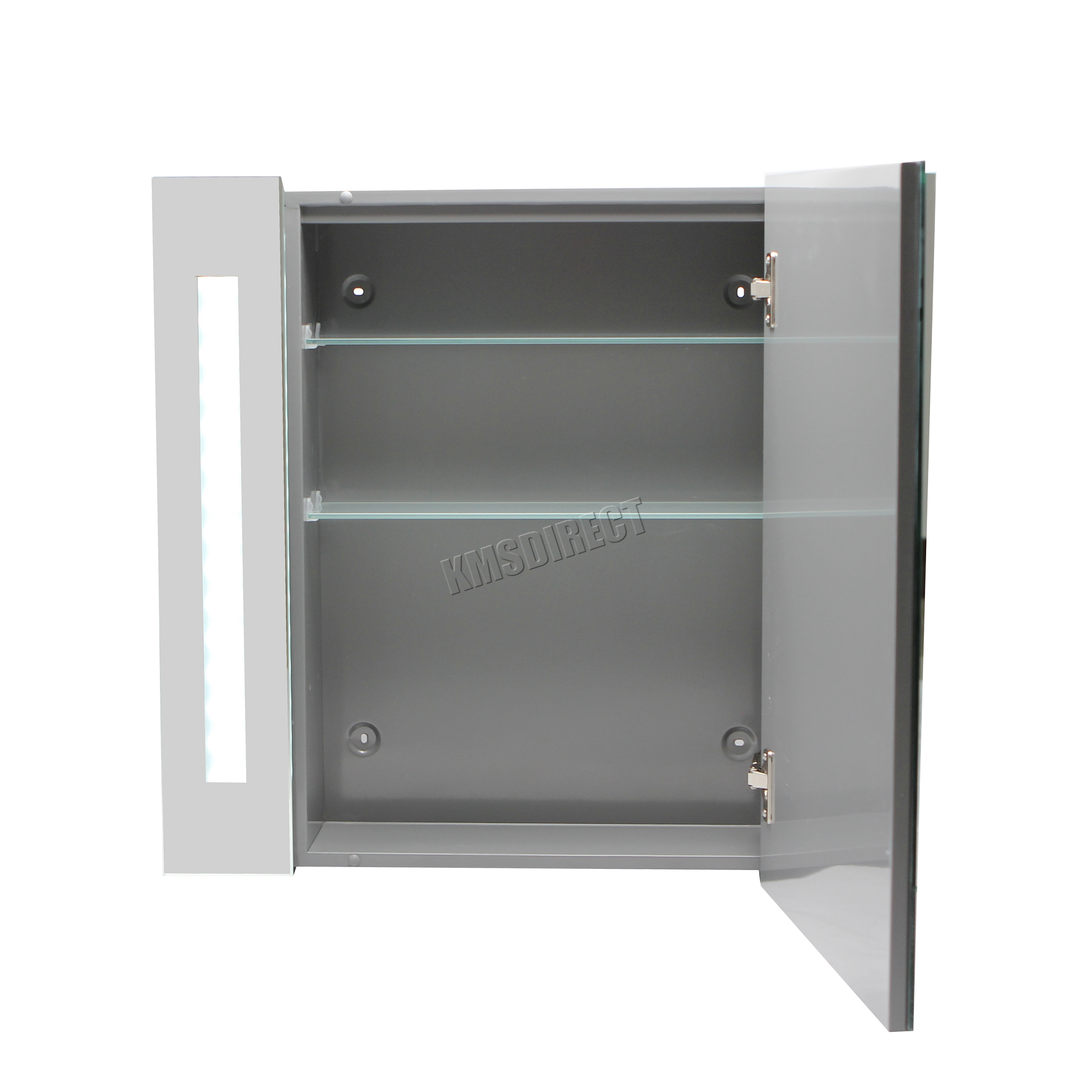 Foxhunter led illuminated mirror bathroom cabinet steel storage cupboard sensor ebay for Bathroom mirror cupboard