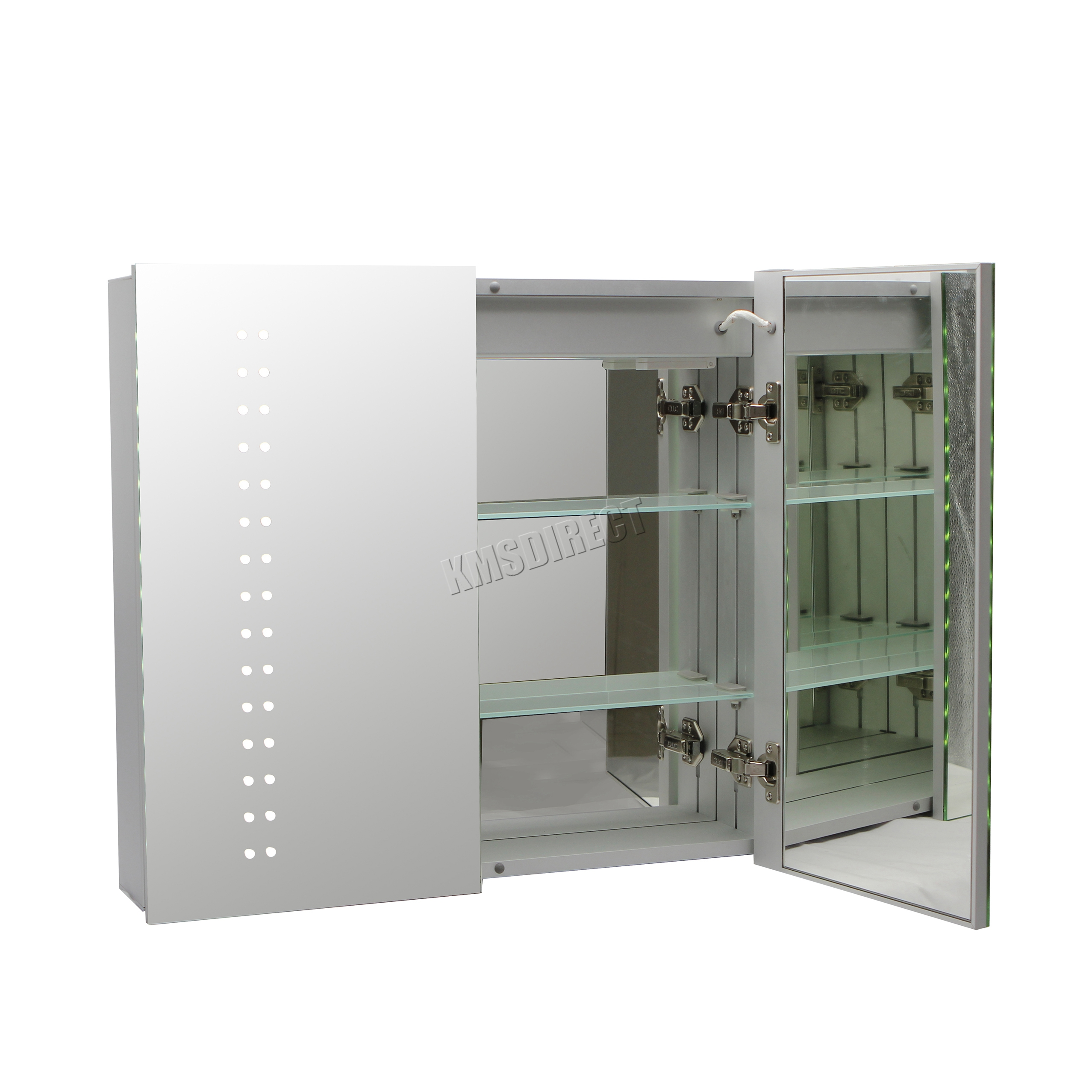 FoxHunter 2 Doors Wall Mount LED Illuminated Mirror Bathroom Cabinet Unit MC20